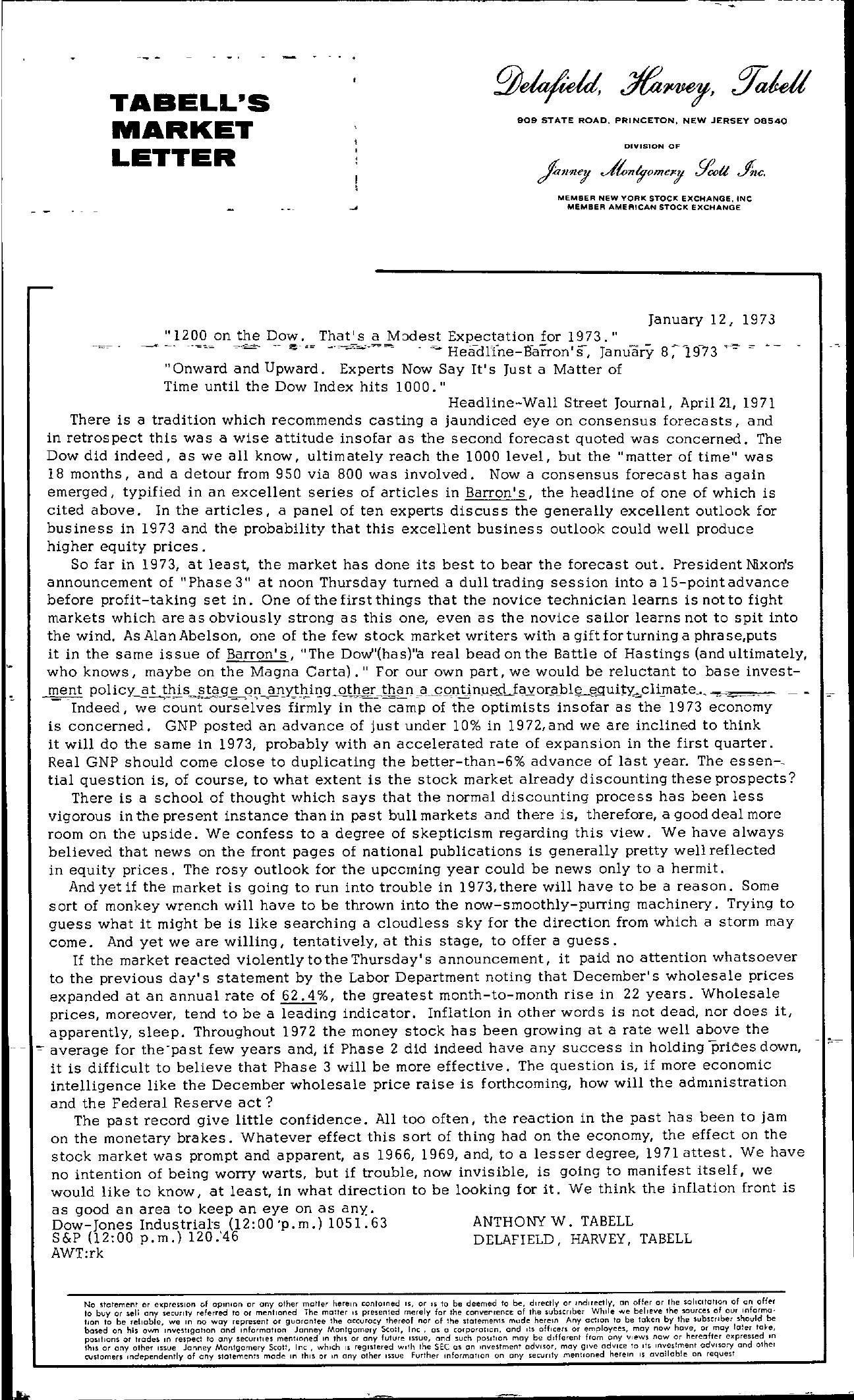Tabell's Market Letter - January 12, 1973