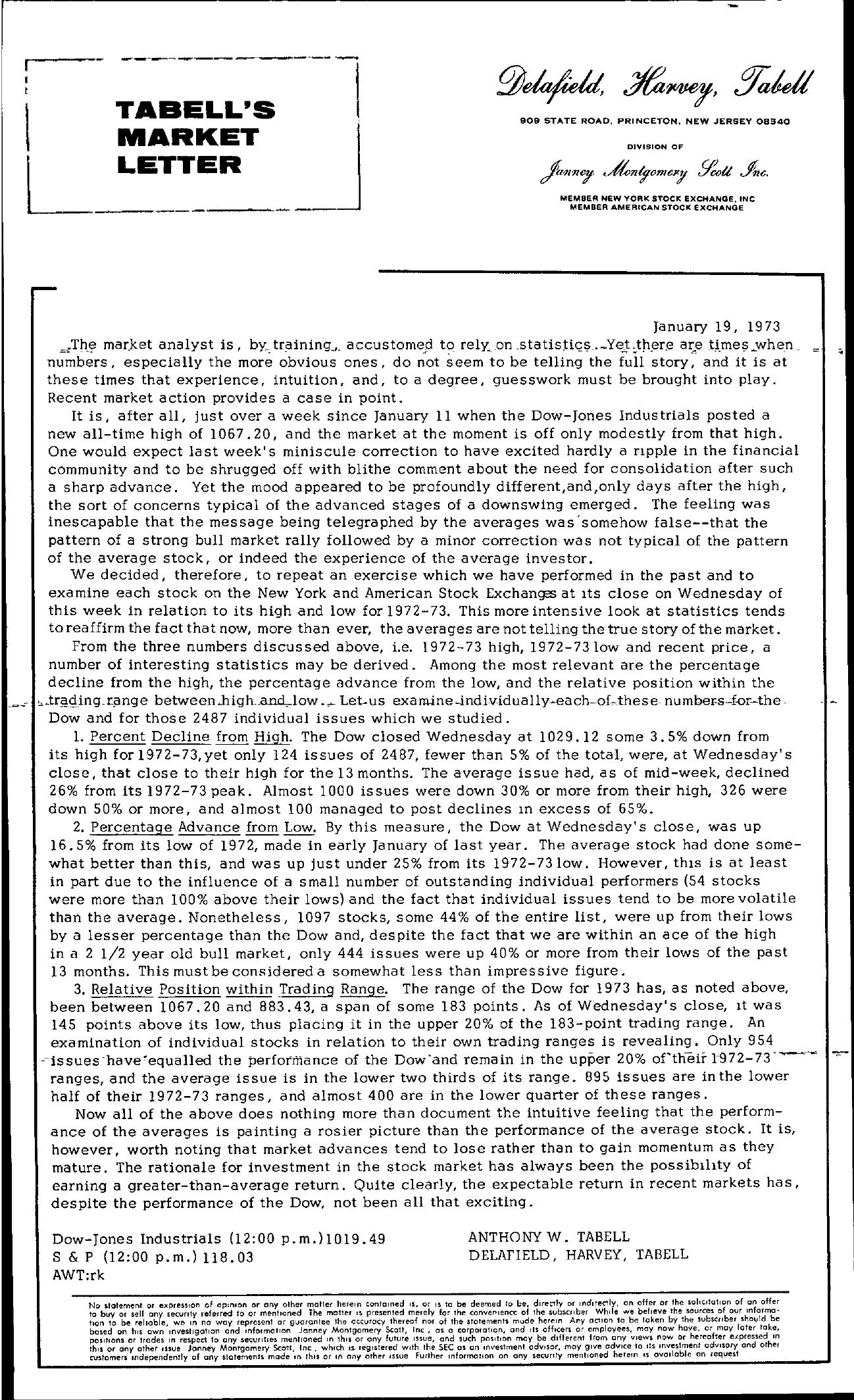 Tabell's Market Letter - January 19, 1973