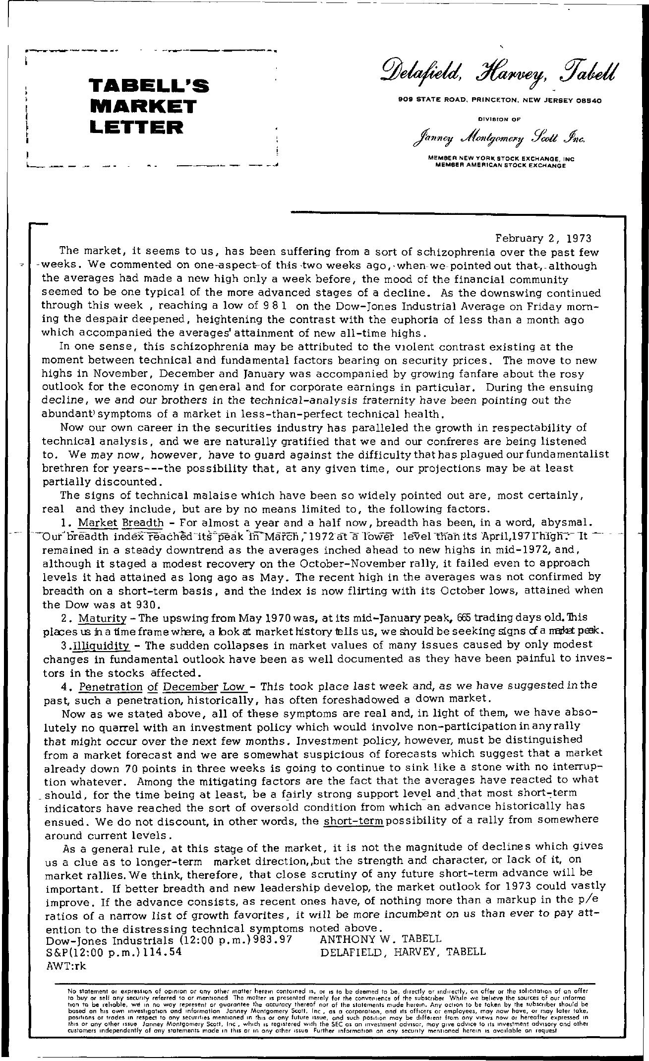 Tabell's Market Letter - February 02, 1973