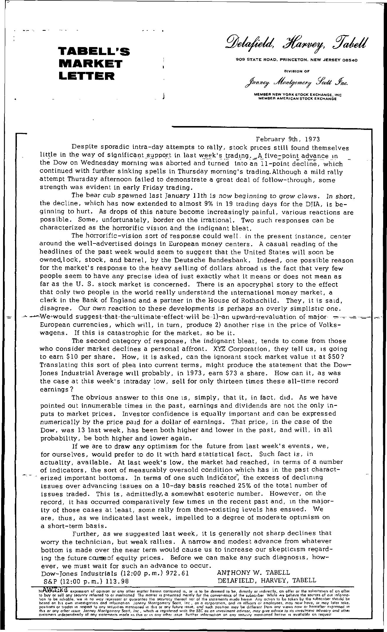 Tabell's Market Letter - February 09, 1973