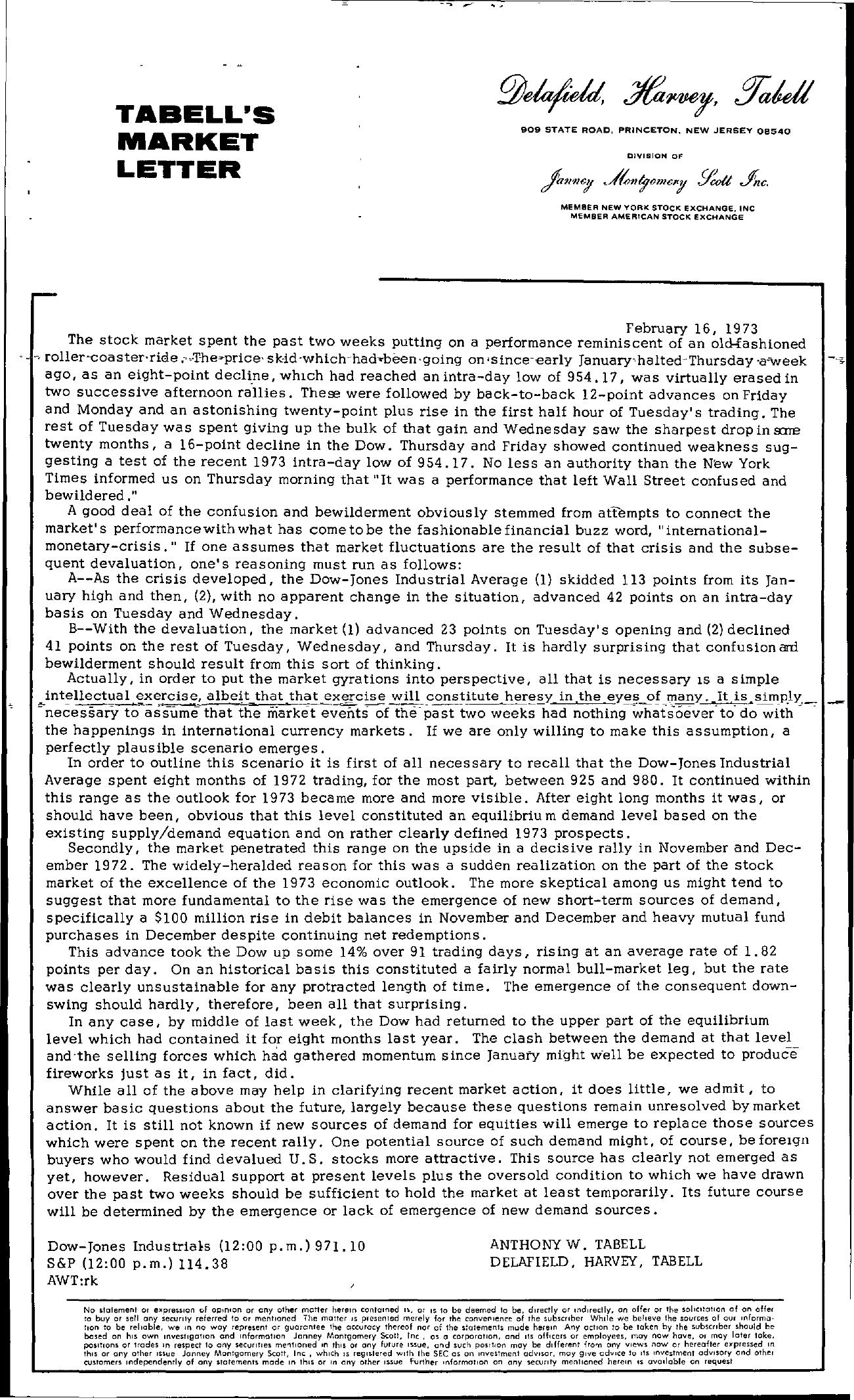 Tabell's Market Letter - February 16, 1973