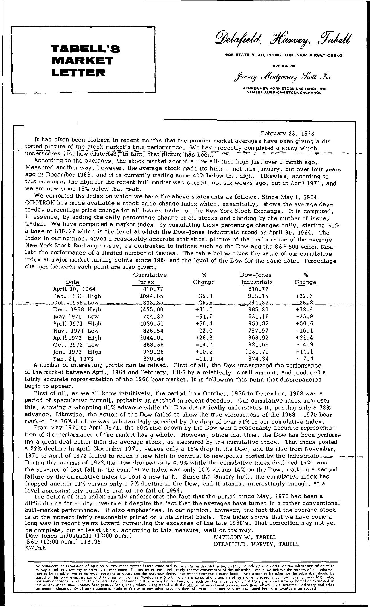 Tabell's Market Letter - February 23, 1973