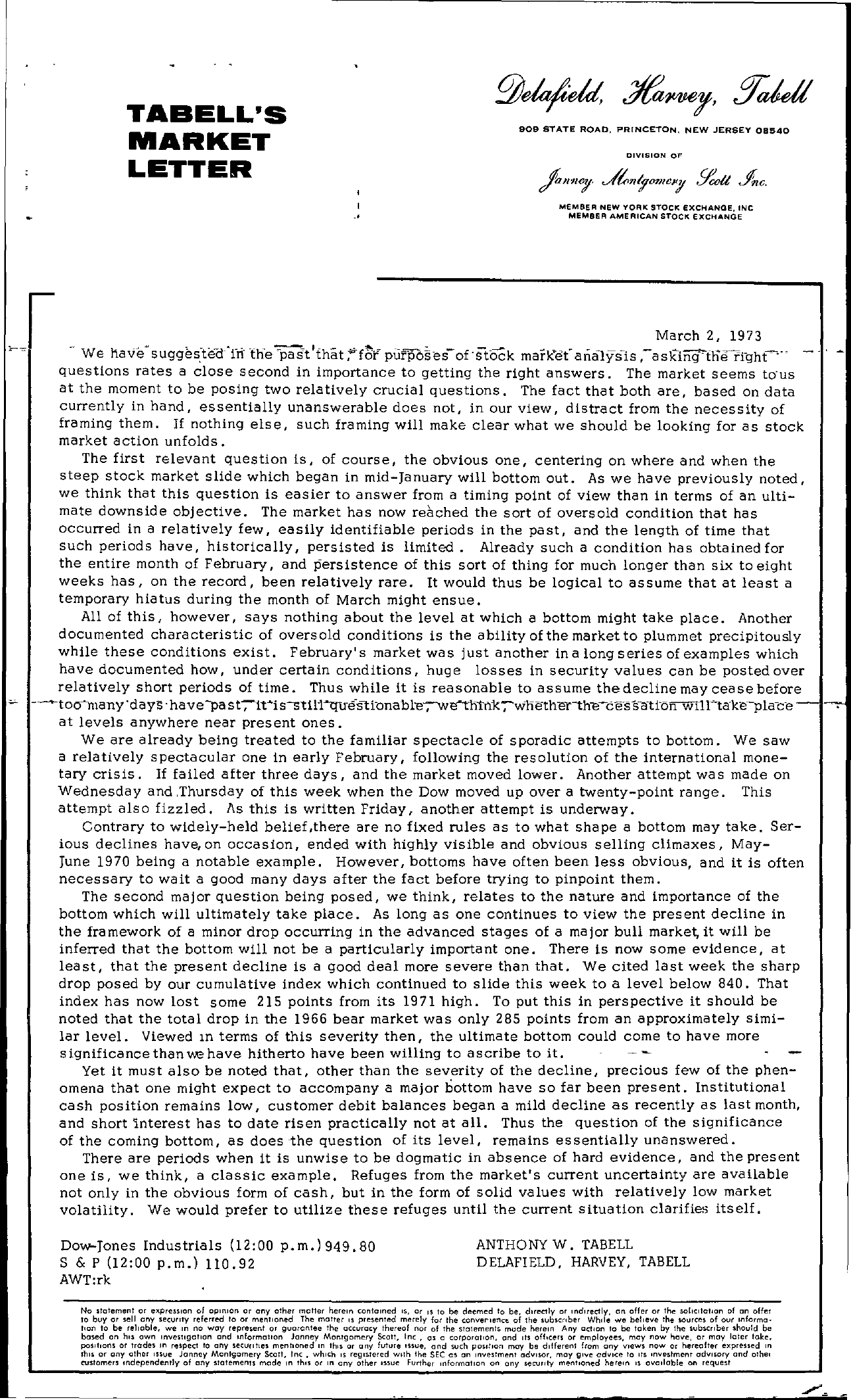 Tabell's Market Letter - March 02, 1973