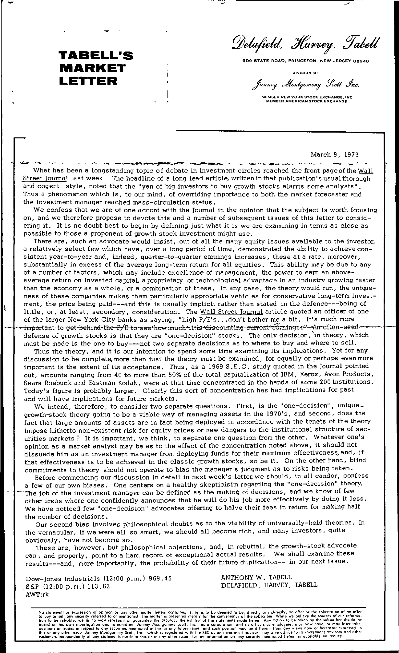 Tabell's Market Letter - March 09, 1973
