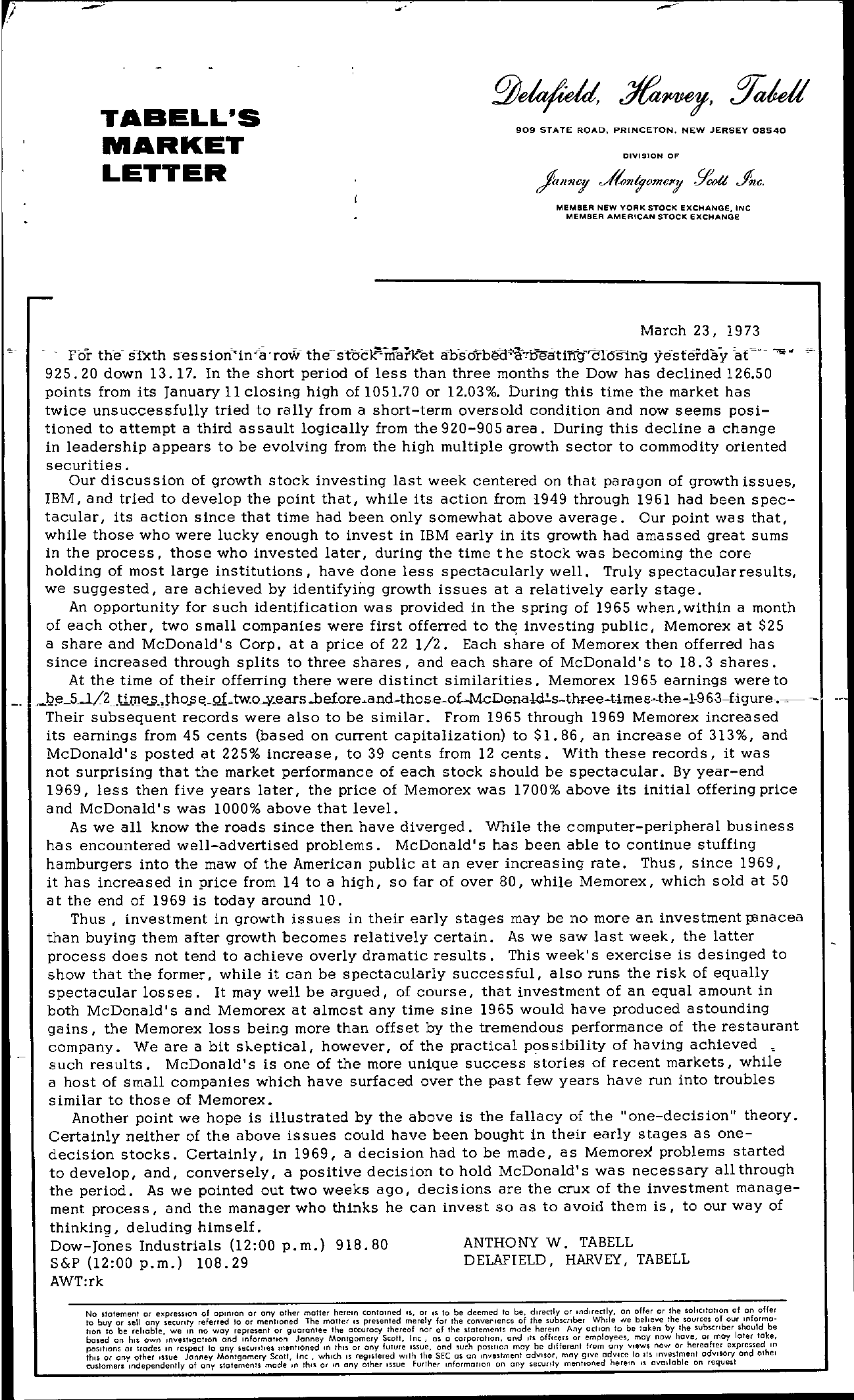 Tabell's Market Letter - March 23, 1973