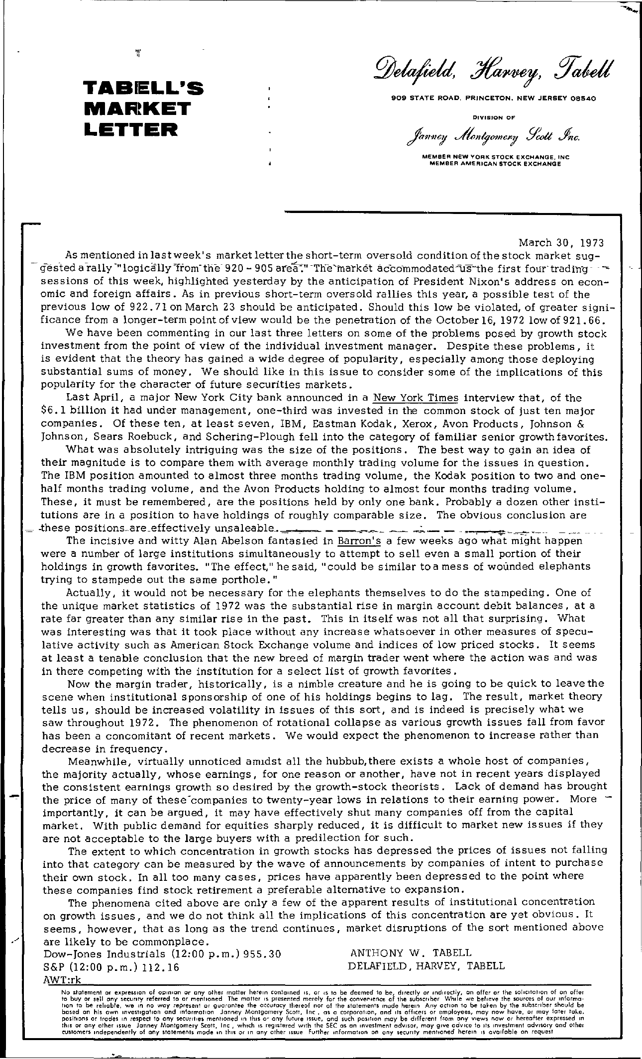 Tabell's Market Letter - March 30, 1973