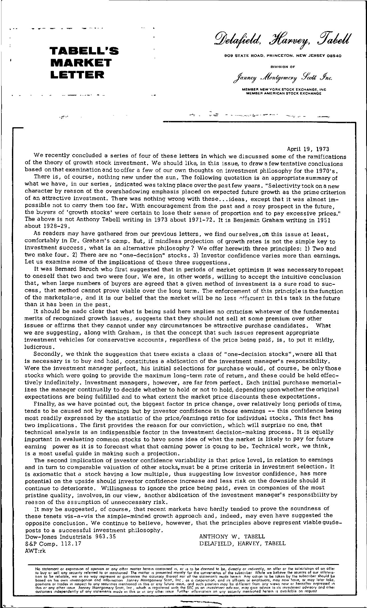 Tabell's Market Letter - April 19, 1973