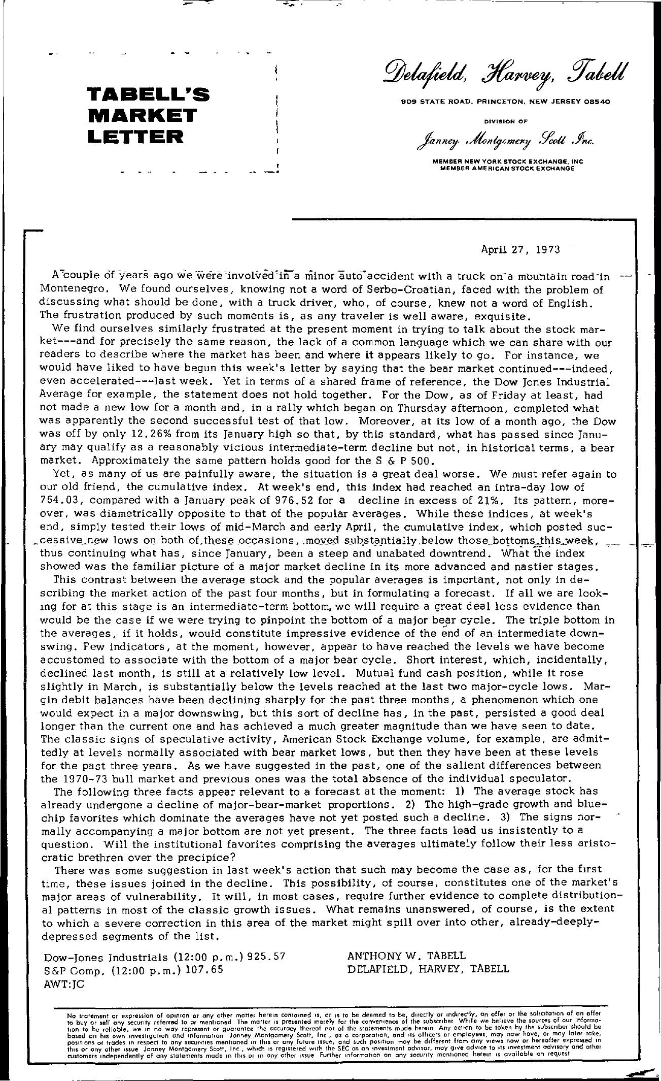 Tabell's Market Letter - April 27, 1973