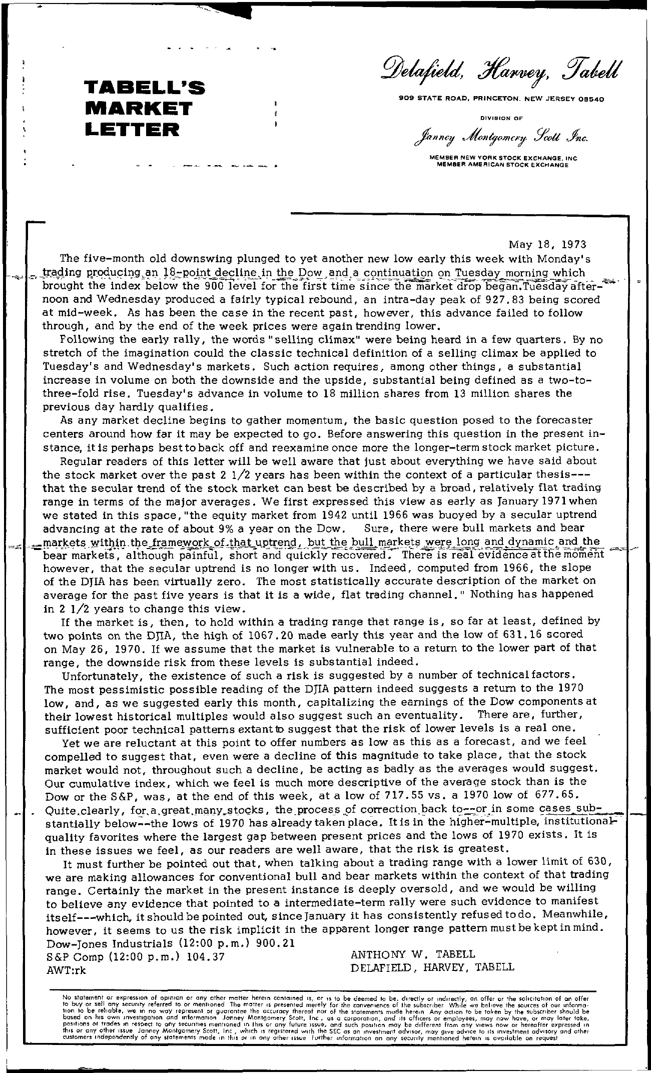 Tabell's Market Letter - May 18, 1973