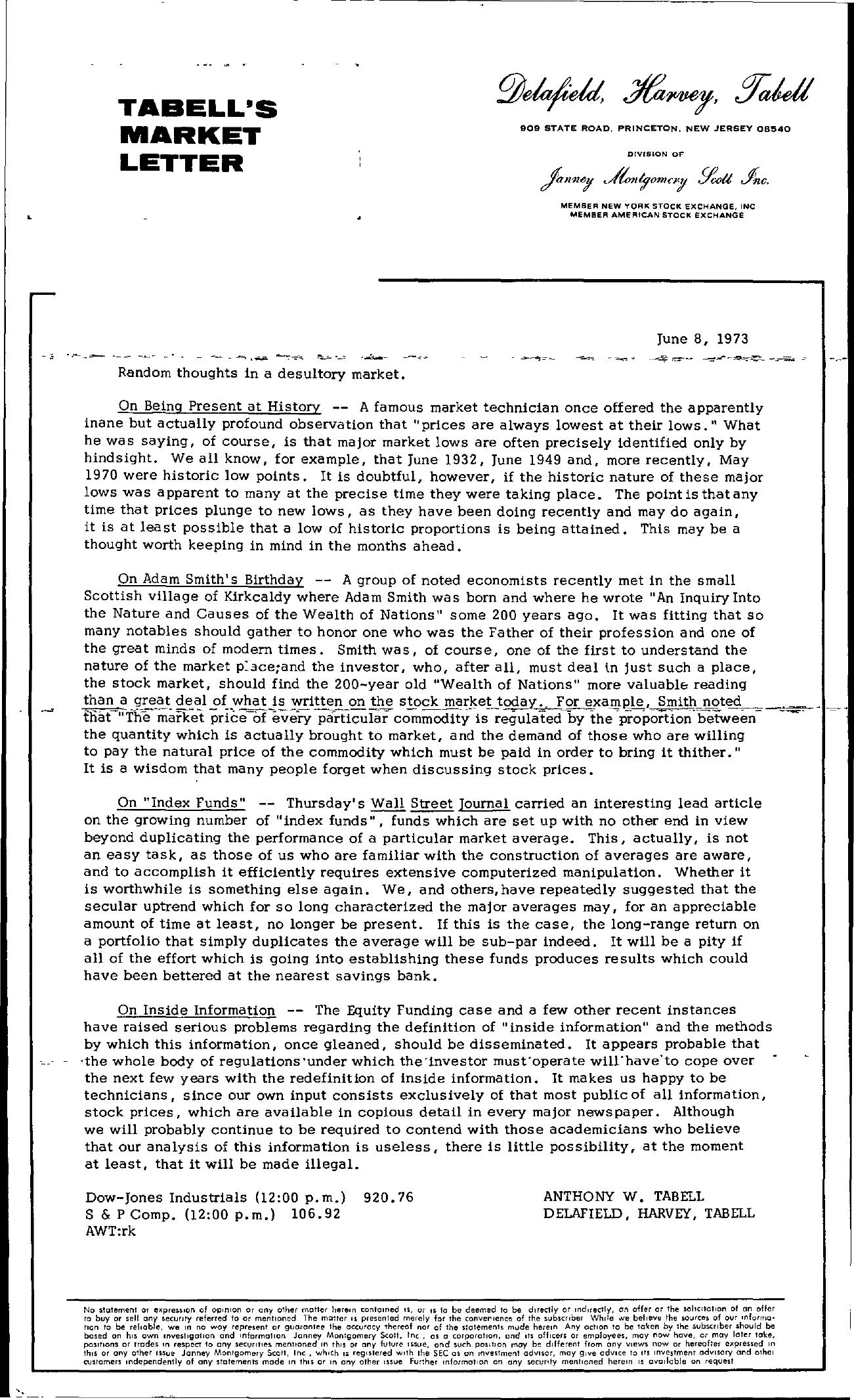 Tabell's Market Letter - June 08, 1973