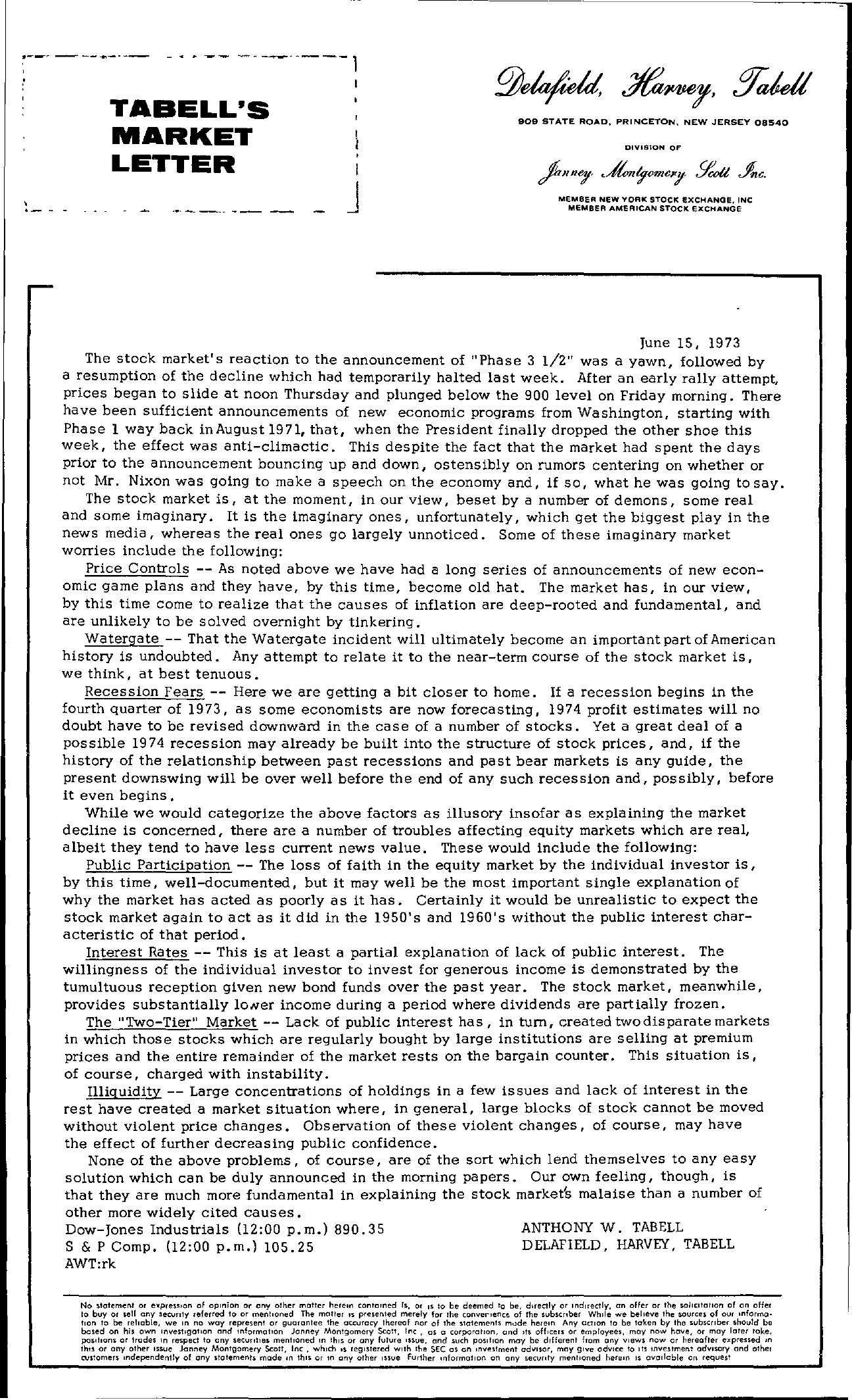 Tabell's Market Letter - June 15, 1973