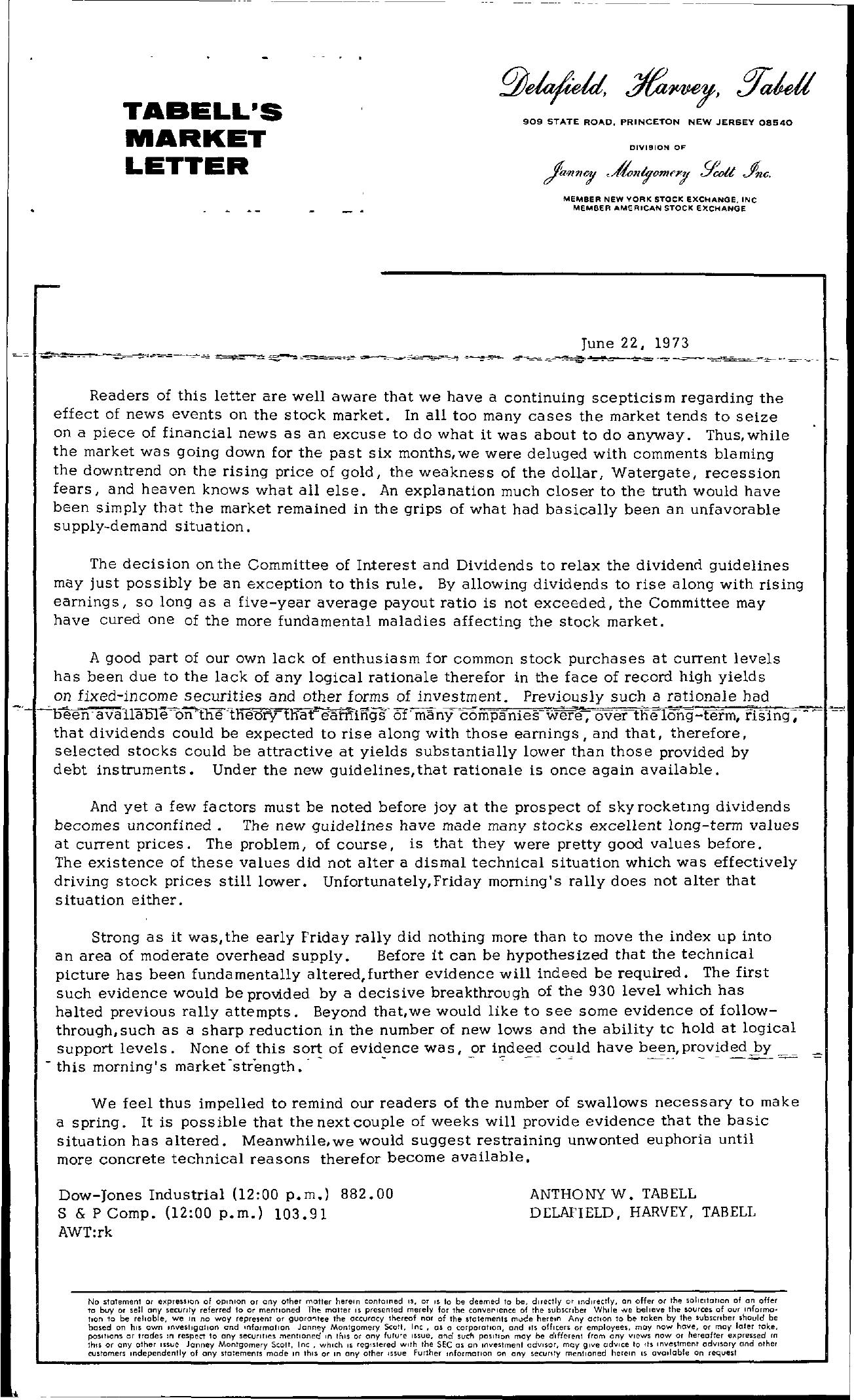 Tabell's Market Letter - June 22, 1973
