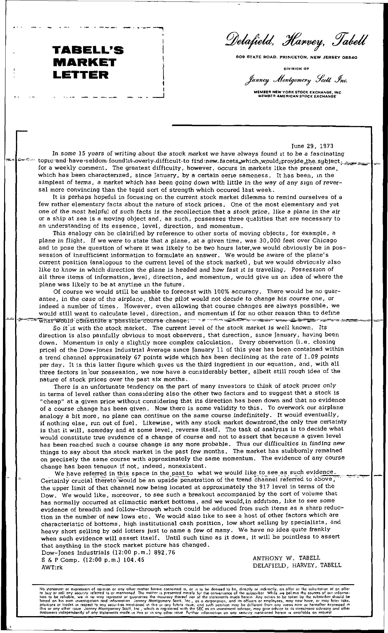 Tabell's Market Letter - June 29, 1973