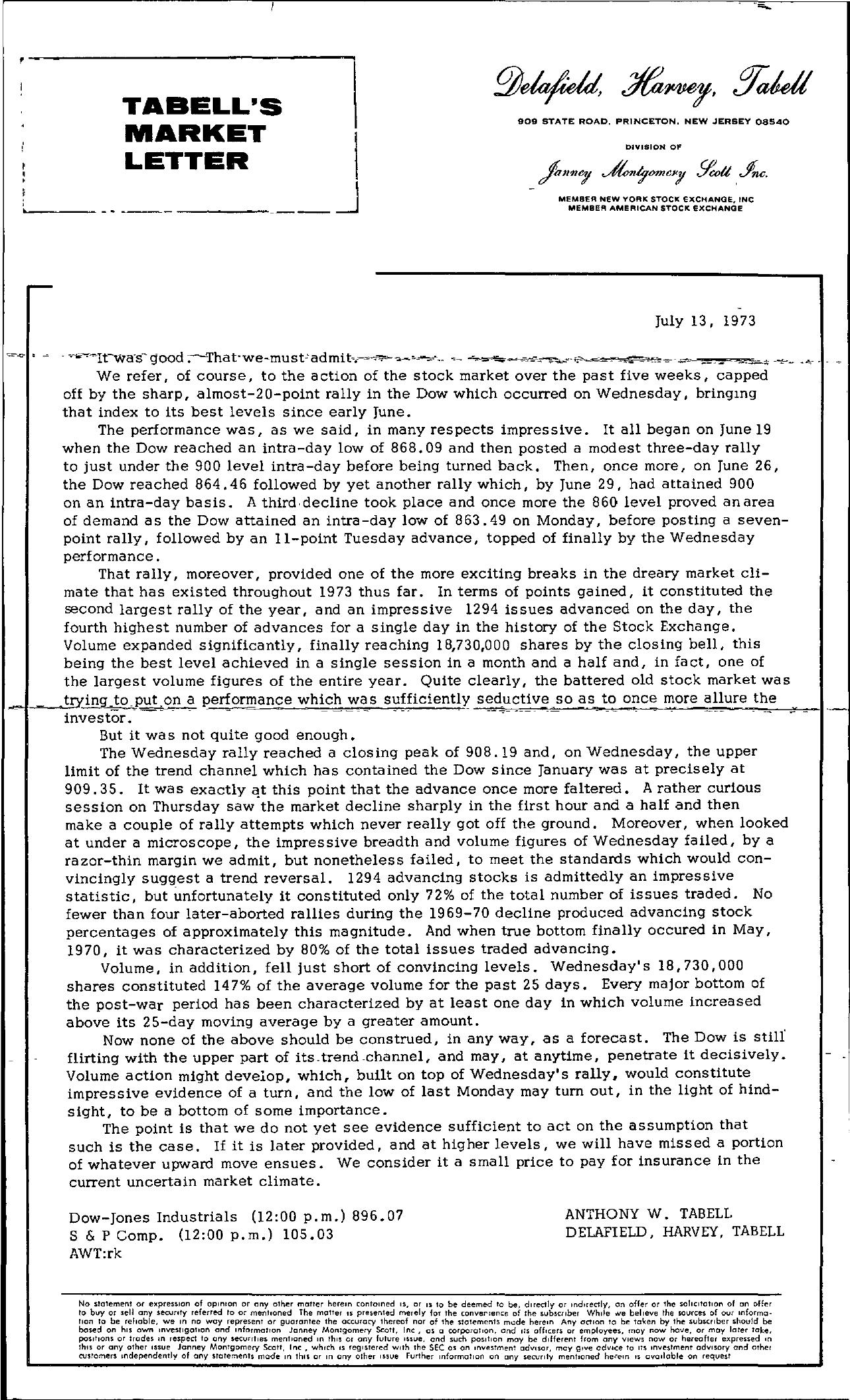 Tabell's Market Letter - July 13, 1973