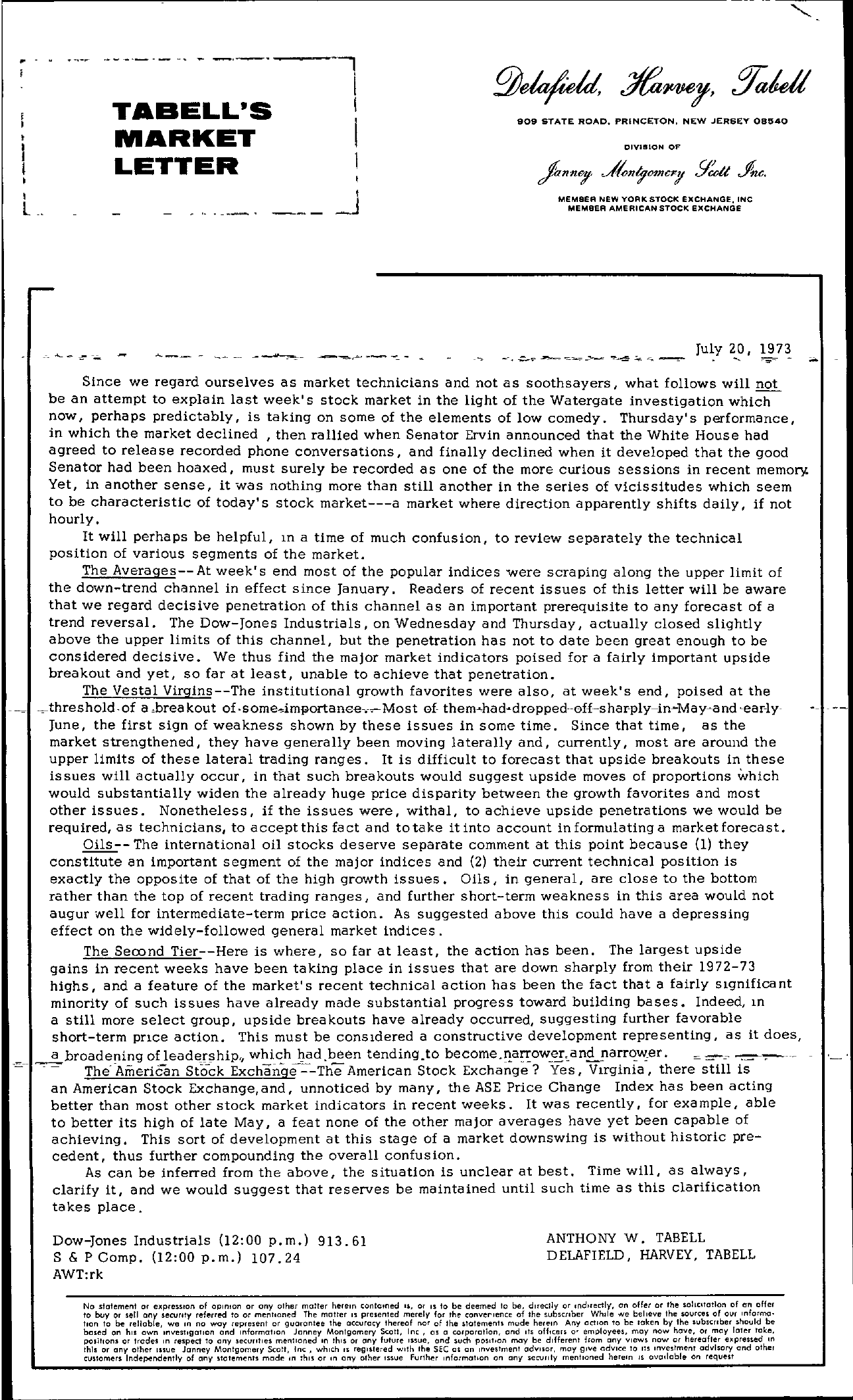 Tabell's Market Letter - July 20, 1973