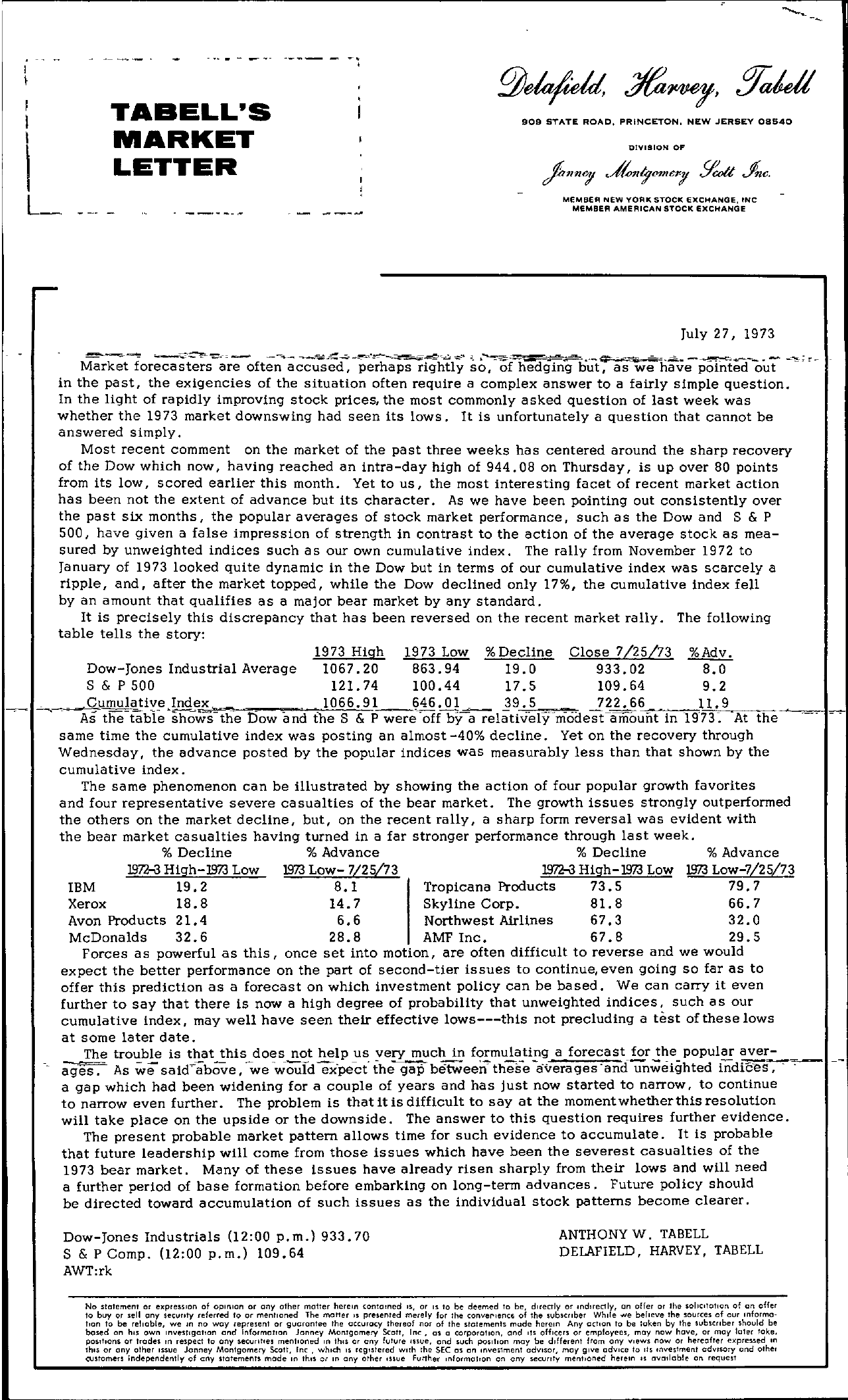 Tabell's Market Letter - July 27, 1973