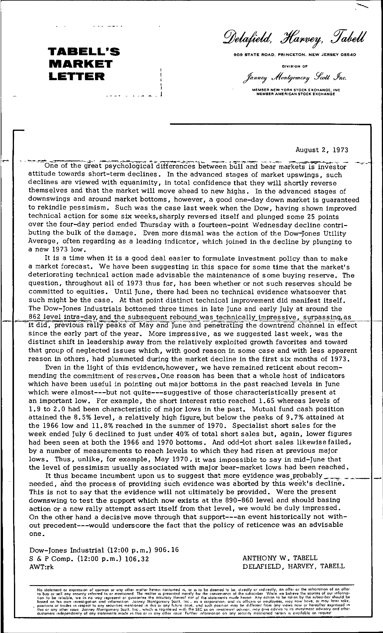 Tabell's Market Letter - August 02, 1973