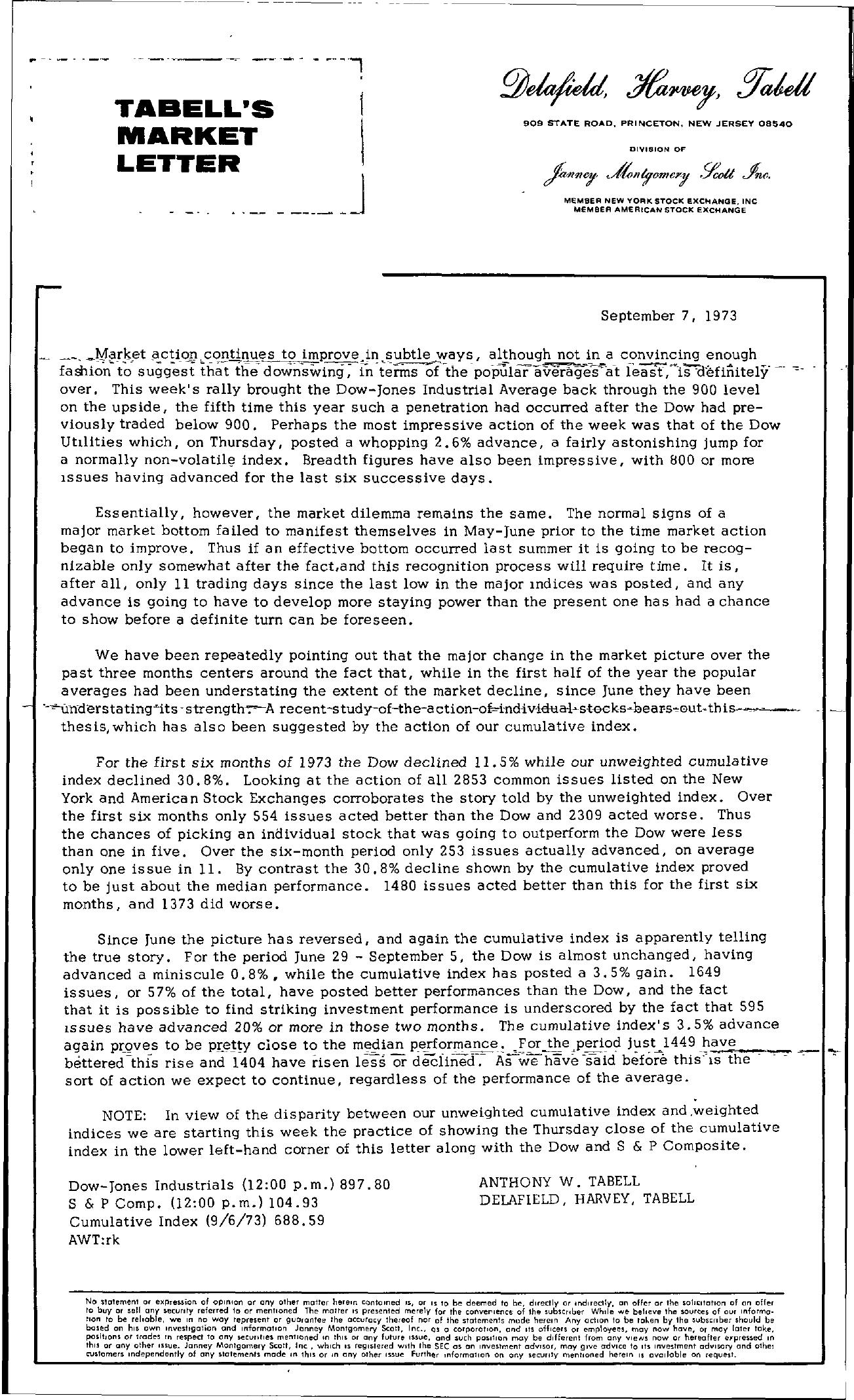 Tabell's Market Letter - September 07, 1973