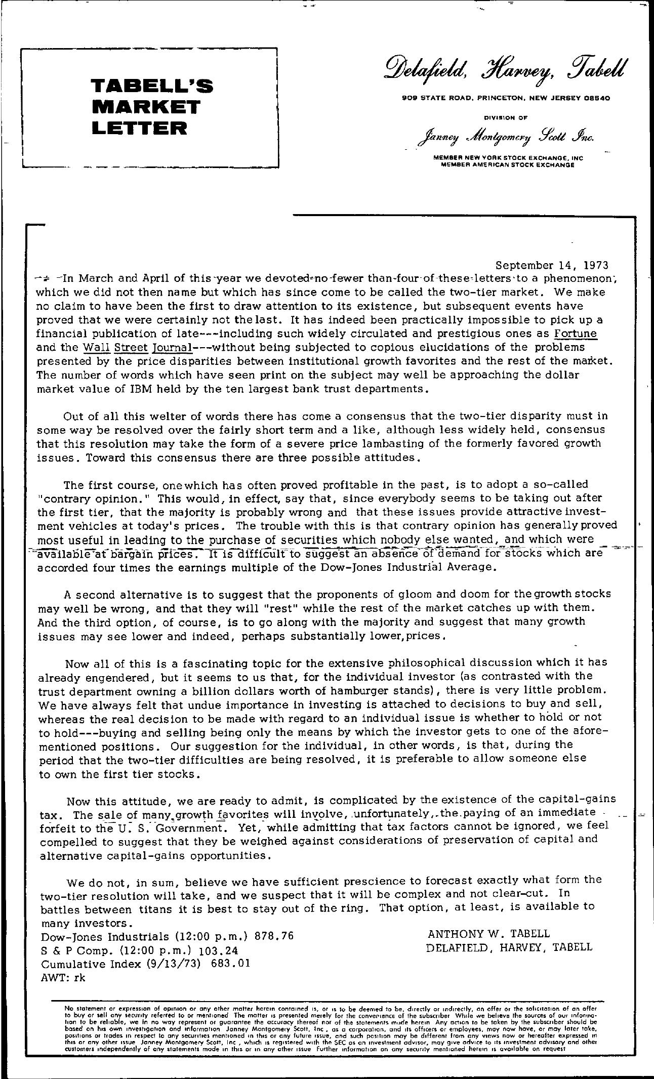 Tabell's Market Letter - September 14, 1973