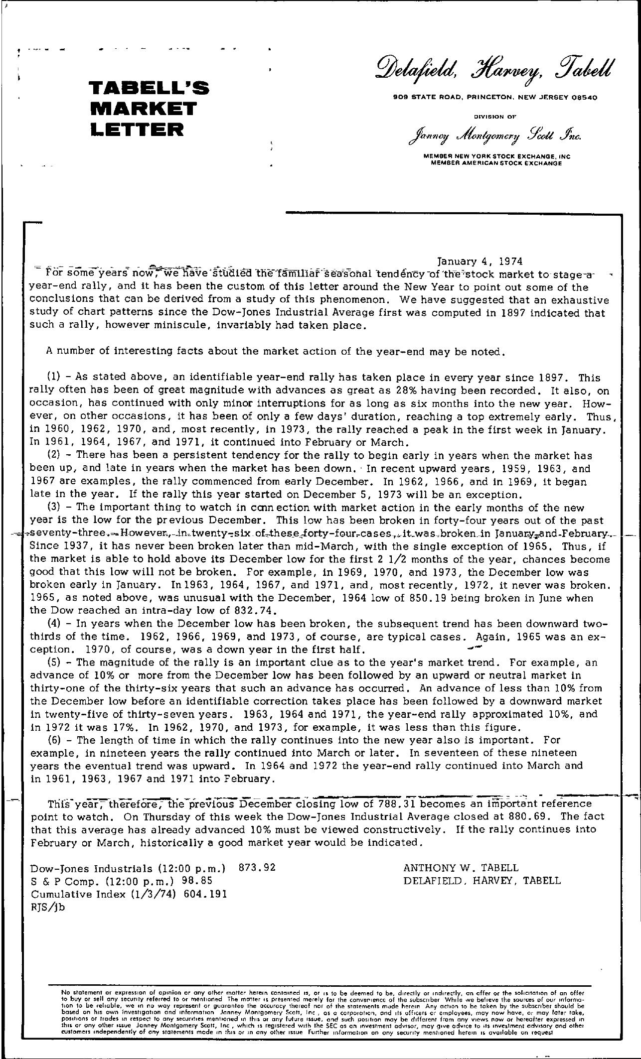 Tabell's Market Letter - January 04, 1974