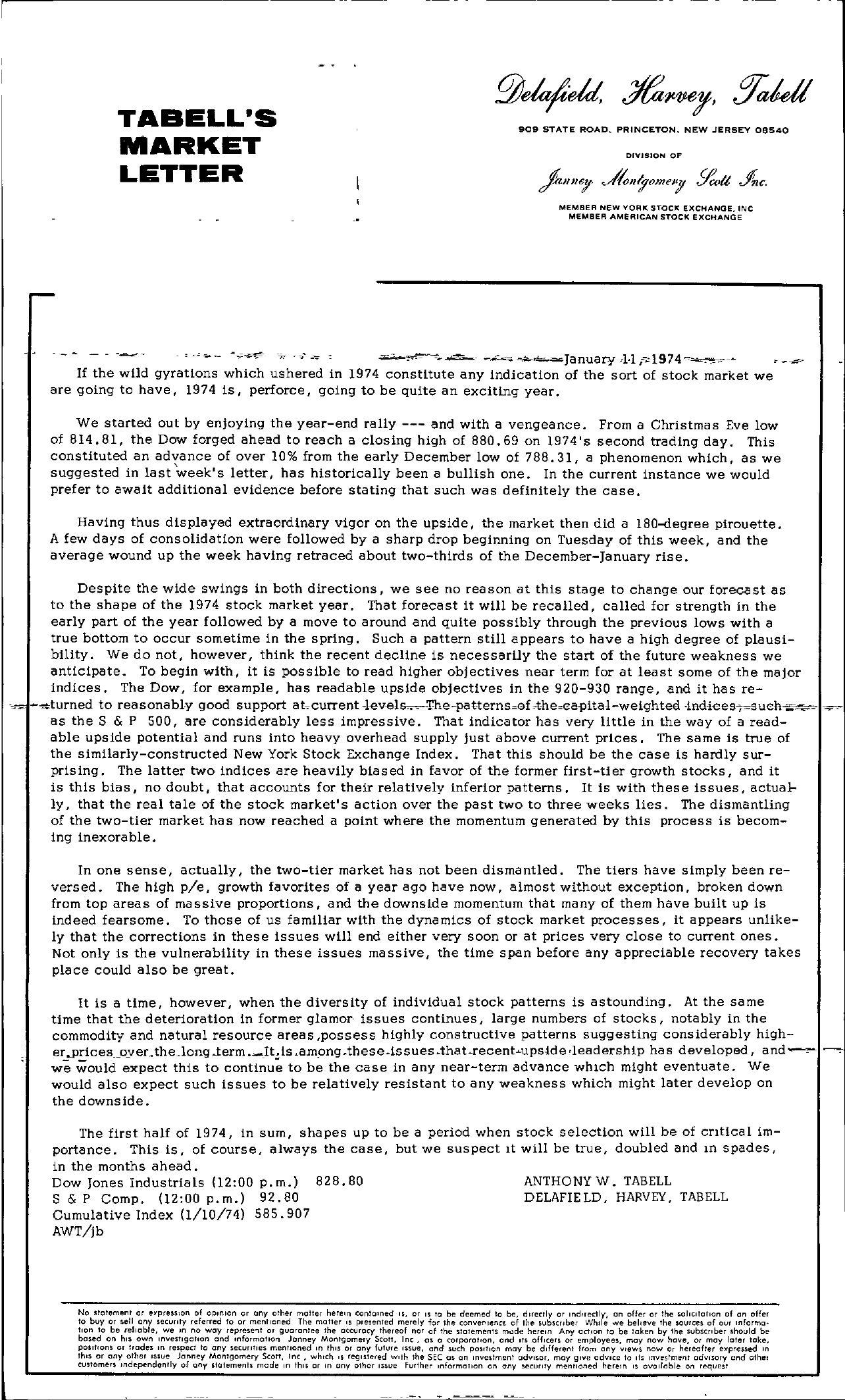 Tabell's Market Letter - January 11, 1974