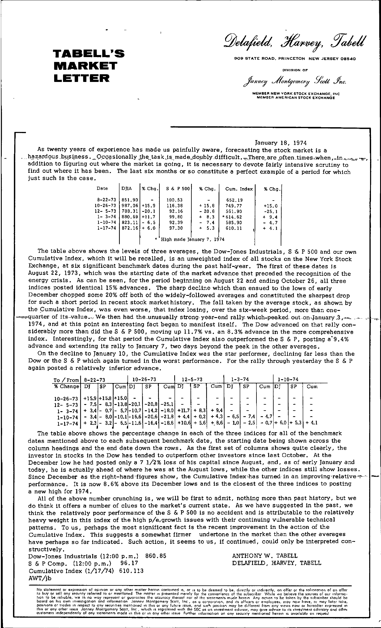 Tabell's Market Letter - January 18, 1974