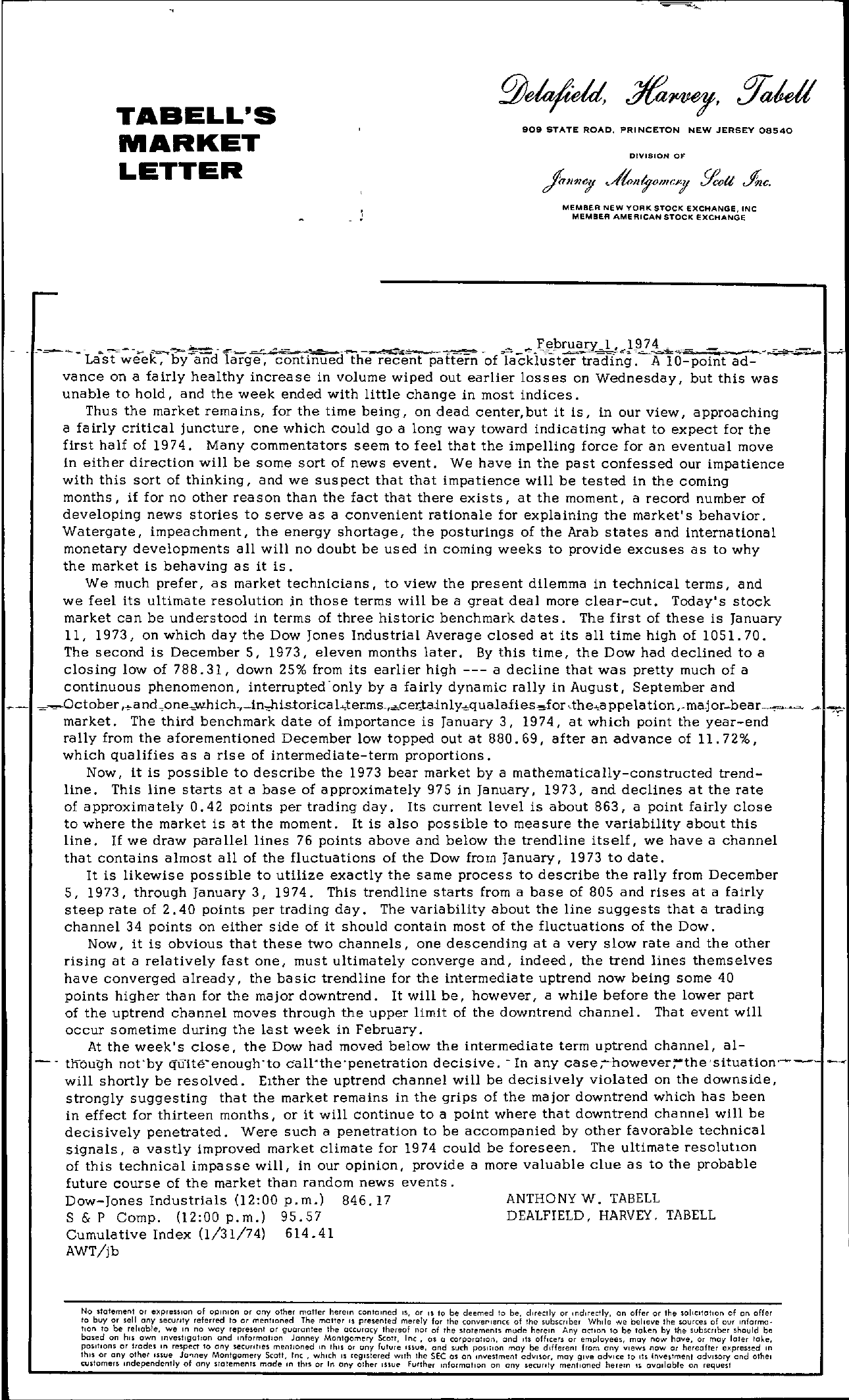 Tabell's Market Letter - February 01, 1974