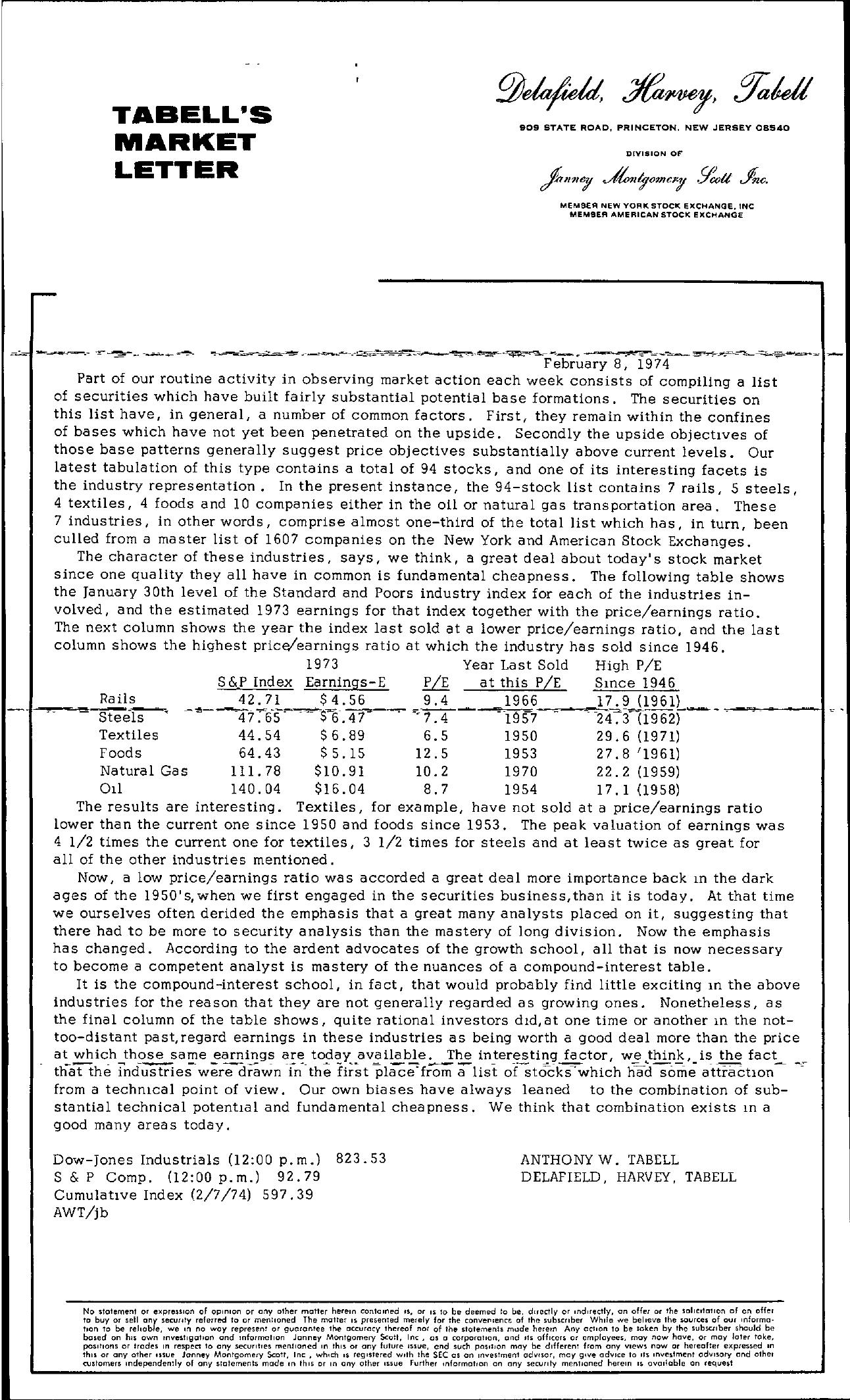 Tabell's Market Letter - February 08, 1974