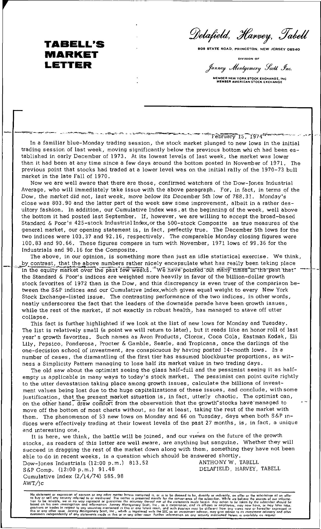 Tabell's Market Letter - February 15, 1974
