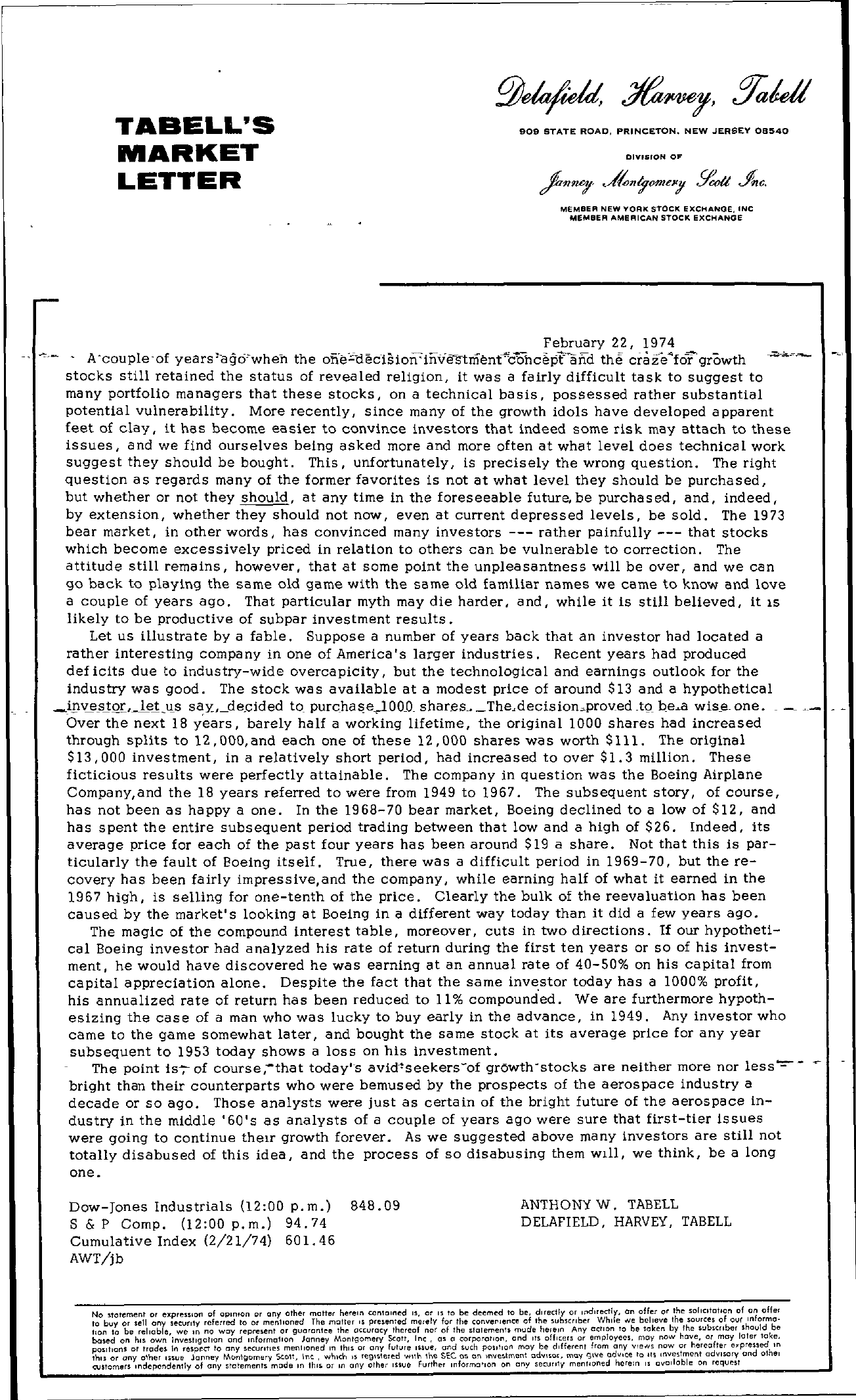 Tabell's Market Letter - February 22, 1974