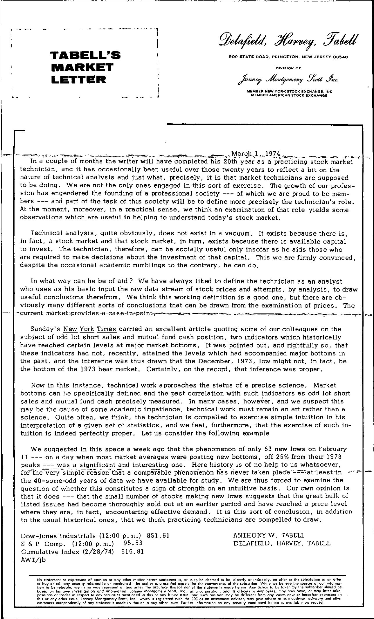 Tabell's Market Letter - March 01, 1974