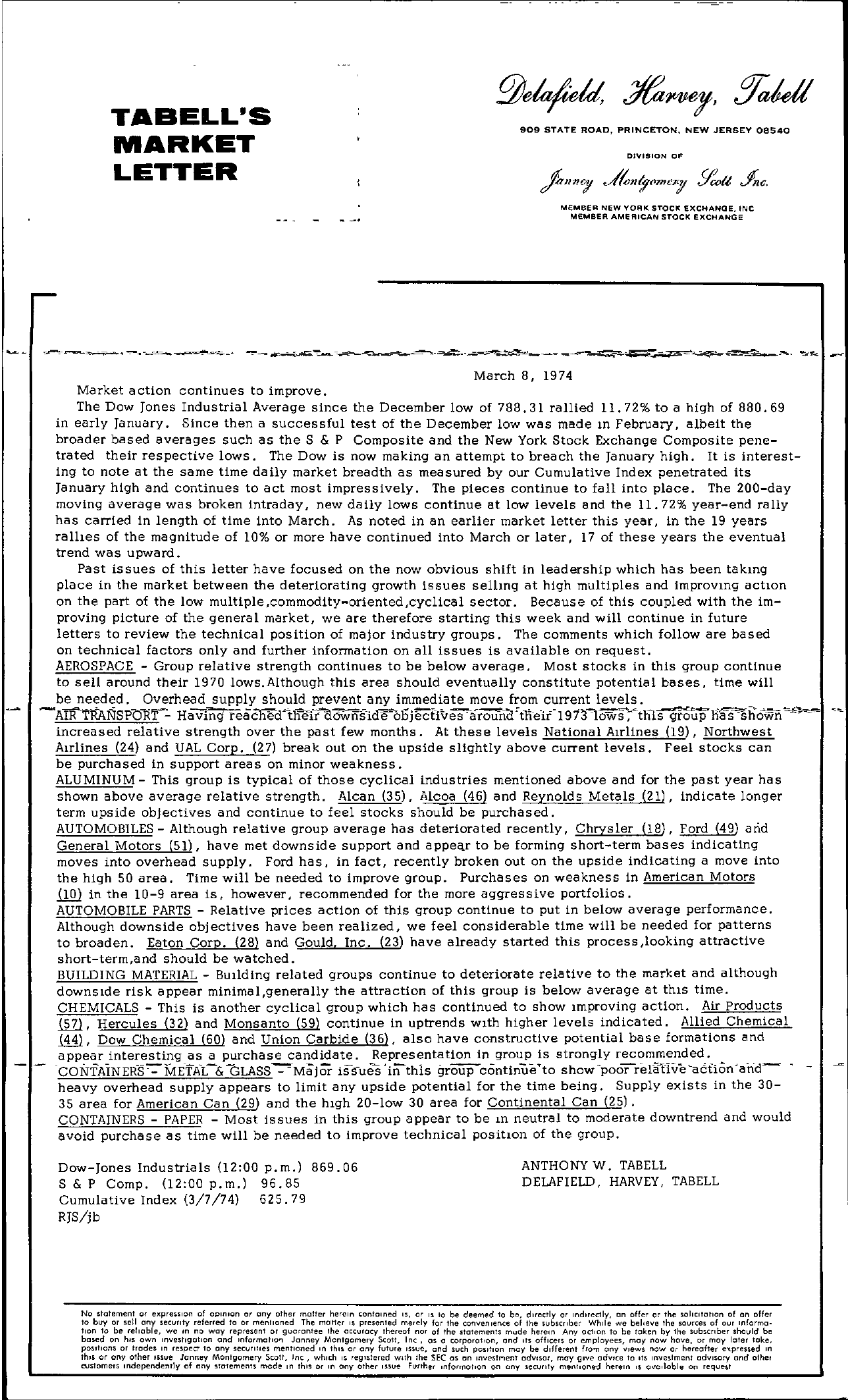 Tabell's Market Letter - March 08, 1974