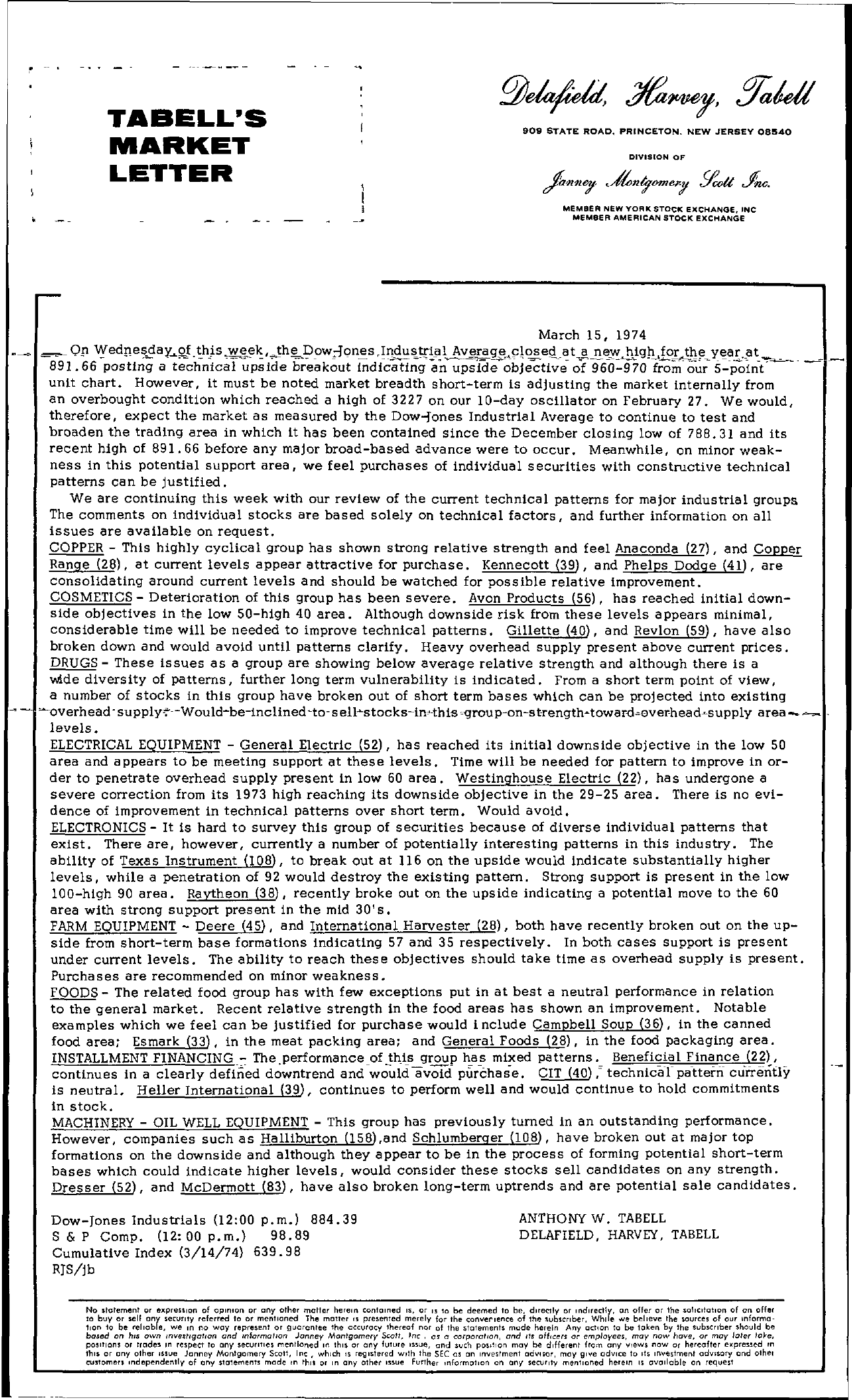 Tabell's Market Letter - March 15, 1974