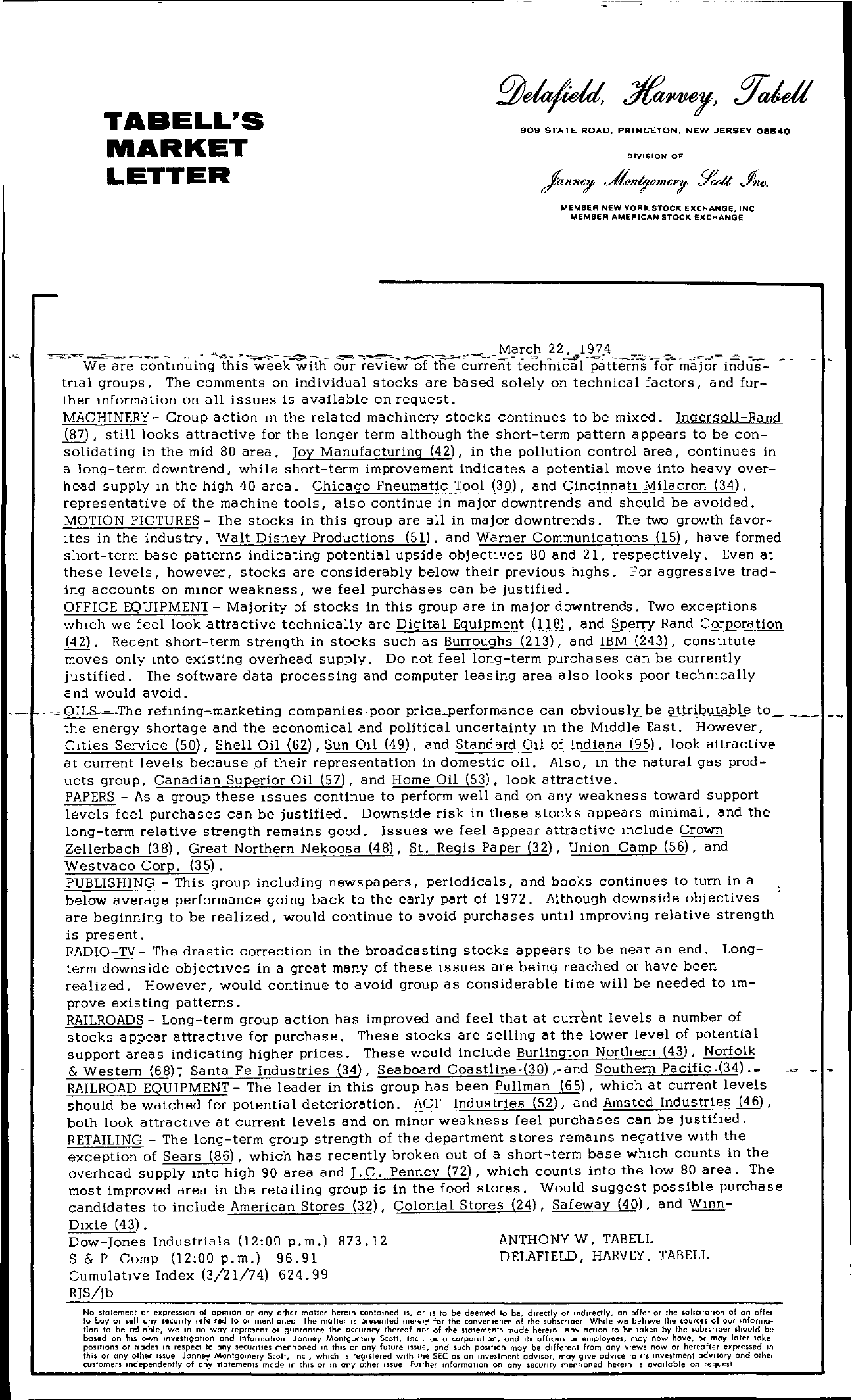 Tabell's Market Letter - March 22, 1974