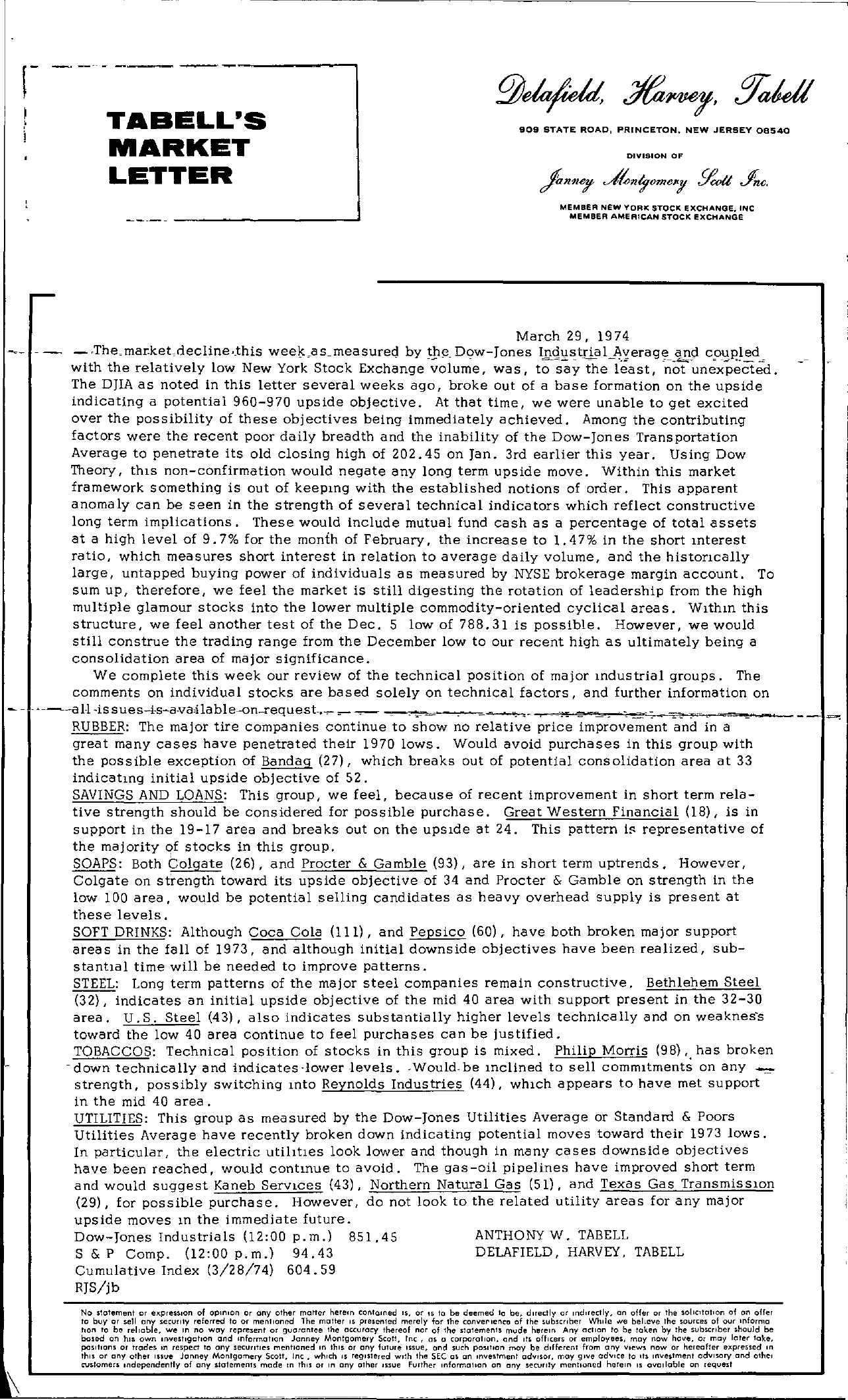 Tabell's Market Letter - March 29, 1974