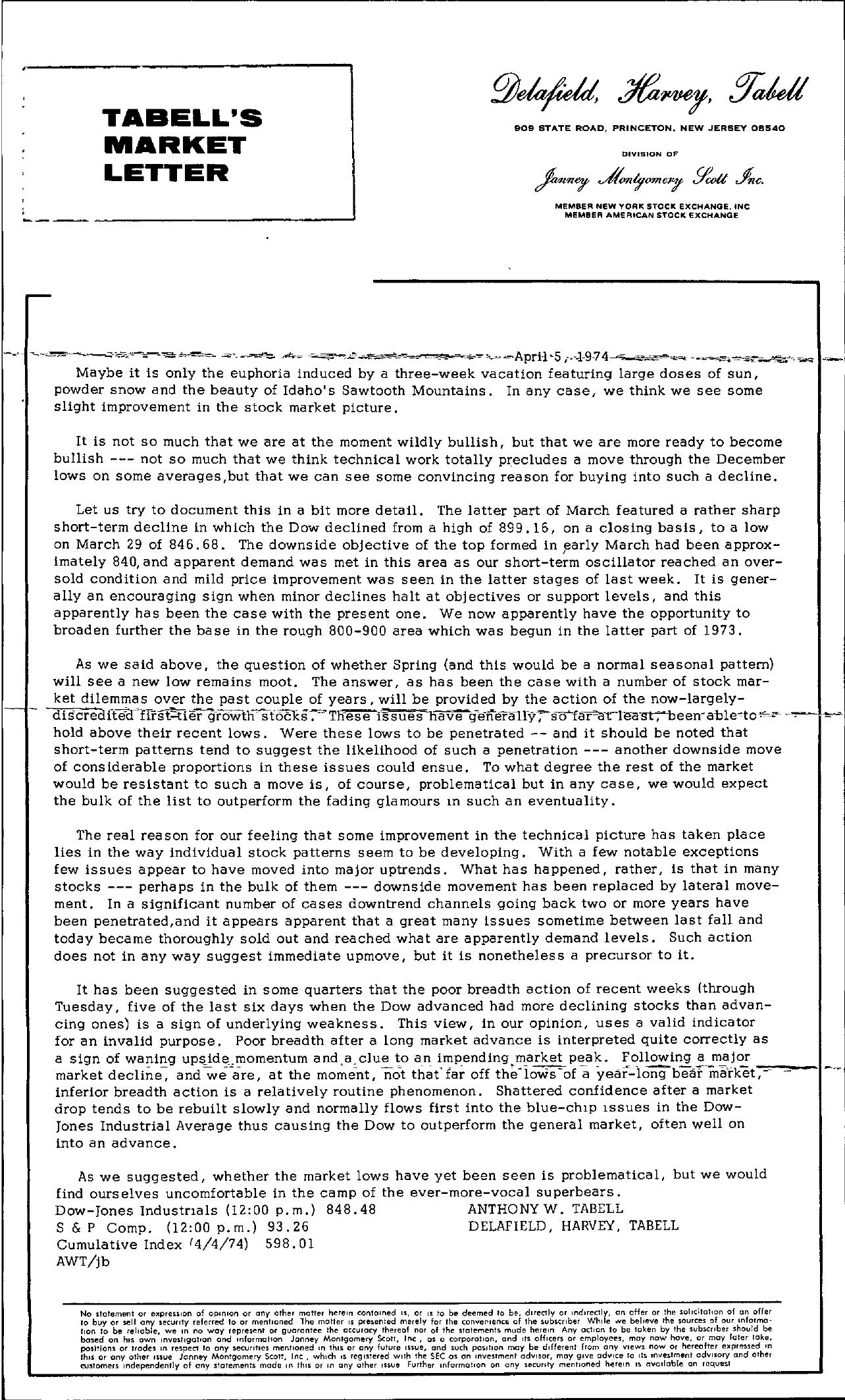 Tabell's Market Letter - April 05, 1974