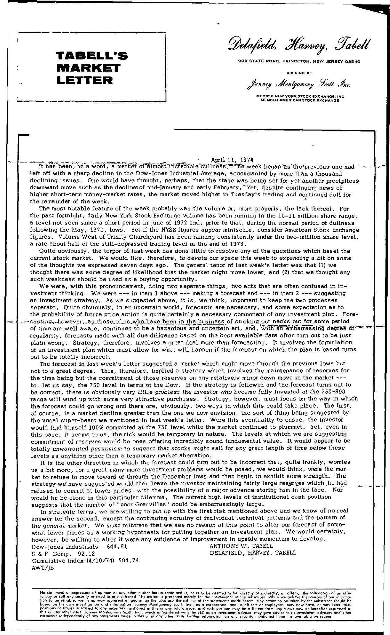 Tabell's Market Letter - April 11, 1974
