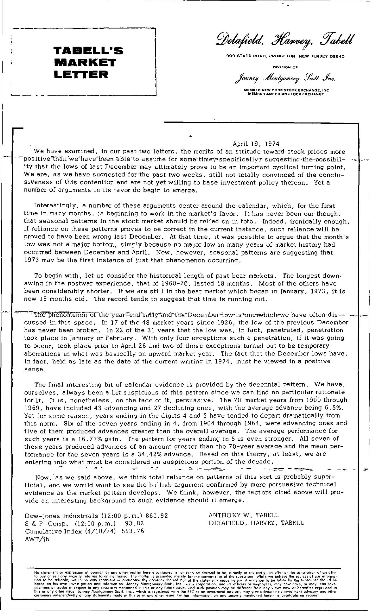 Tabell's Market Letter - April 19, 1974