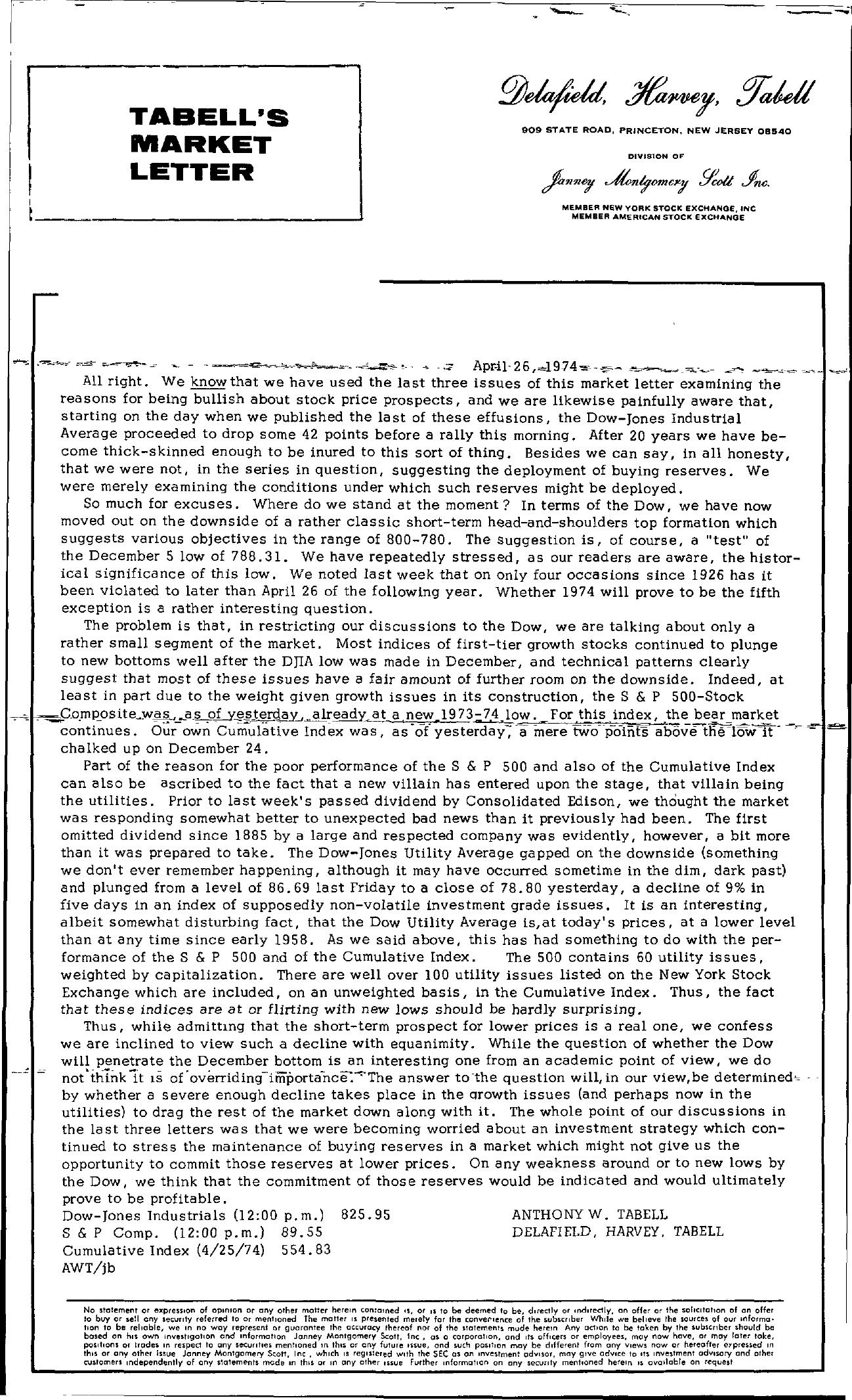 Tabell's Market Letter - April 26, 1974