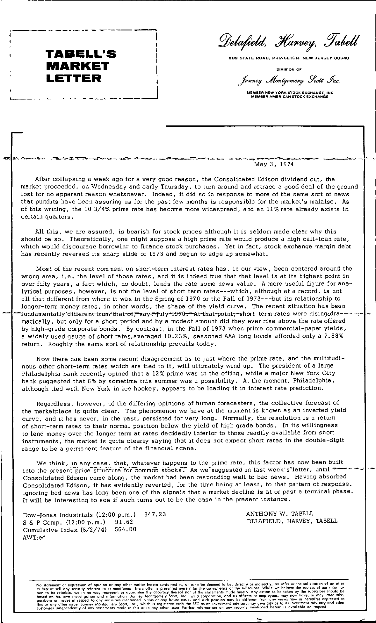 Tabell's Market Letter - May 03, 1974