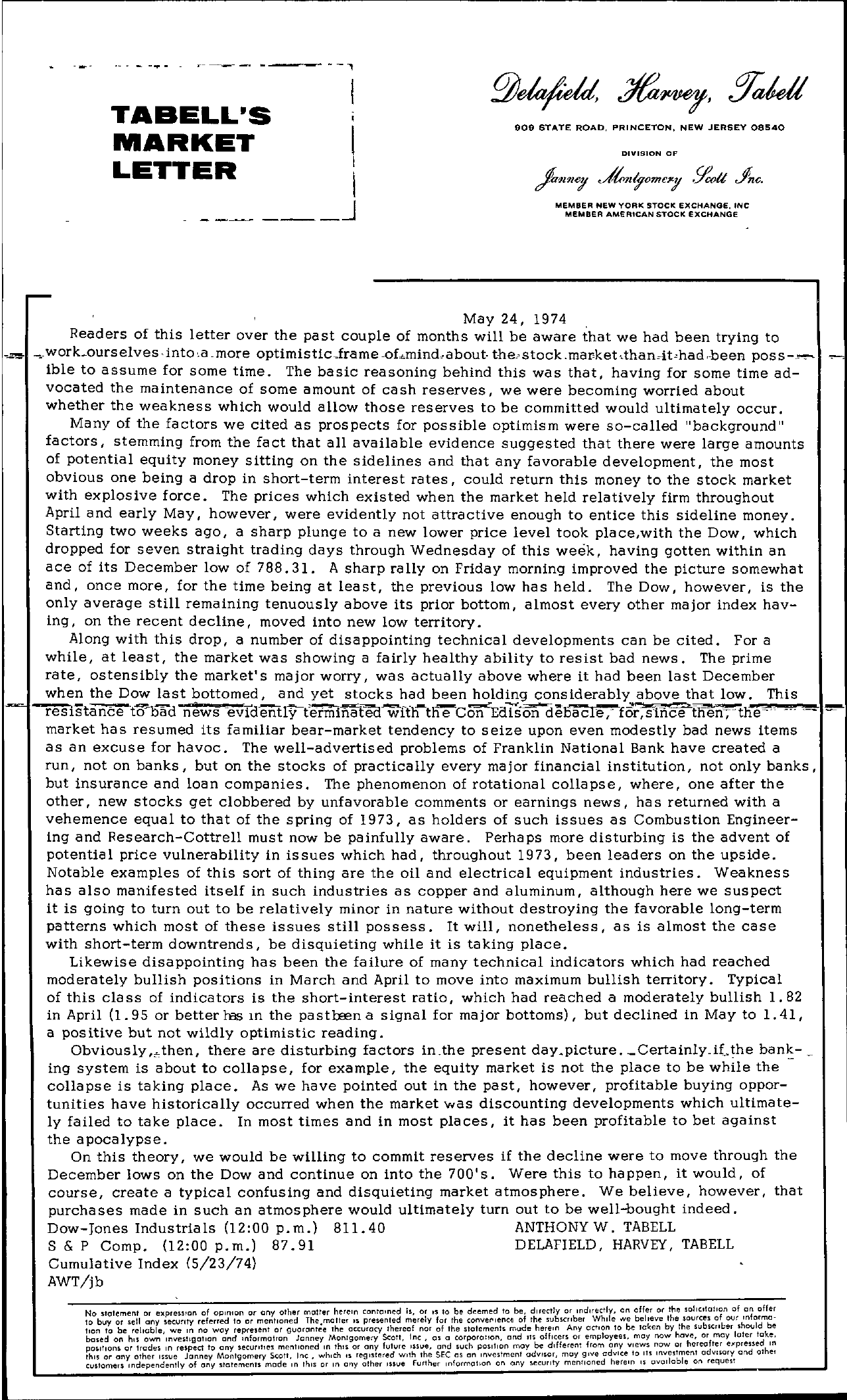 Tabell's Market Letter - May 24, 1974
