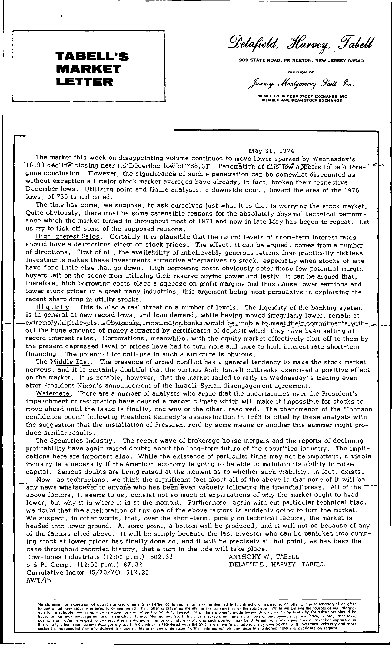 Tabell's Market Letter - May 31, 1974