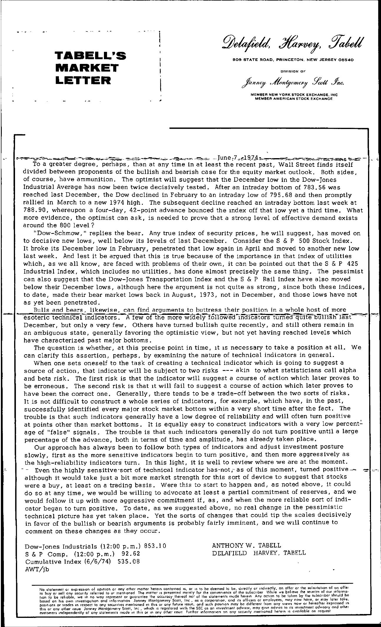 Tabell's Market Letter - June 07, 1974