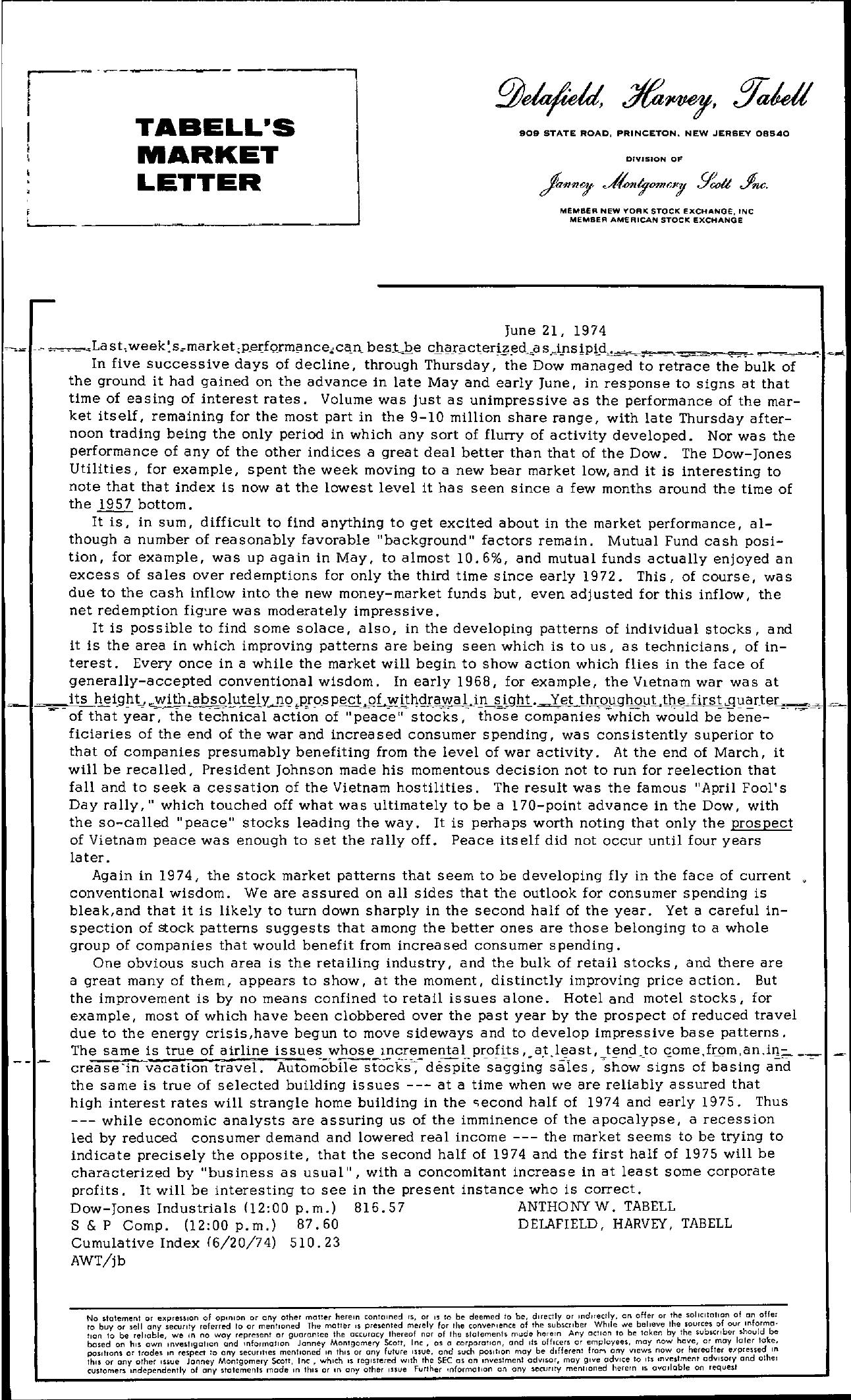 Tabell's Market Letter - June 21, 1974