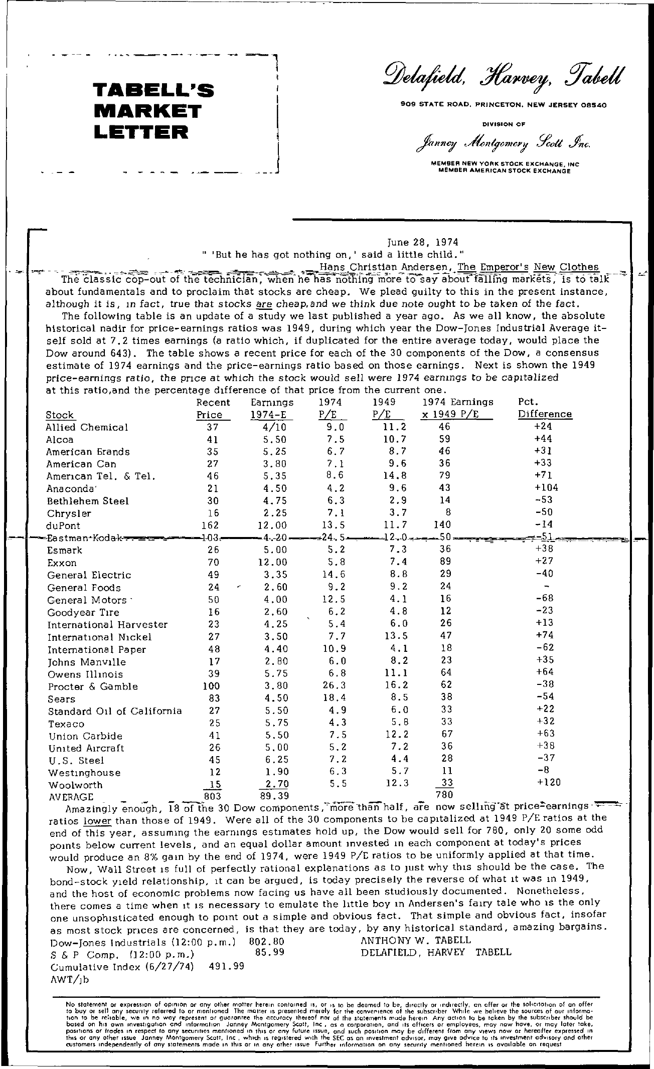 Tabell's Market Letter - June 28, 1974