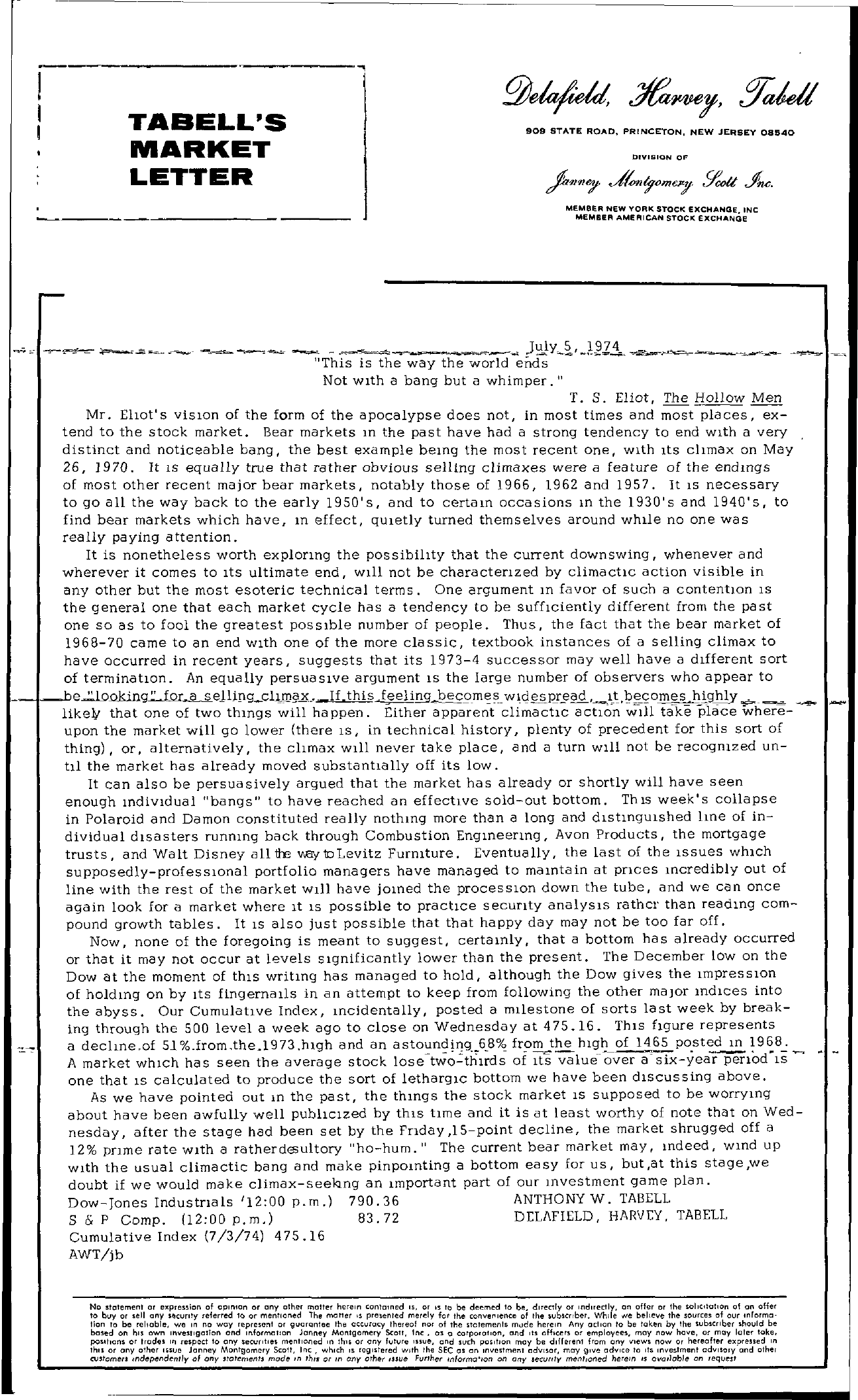 Tabell's Market Letter - July 05, 1974