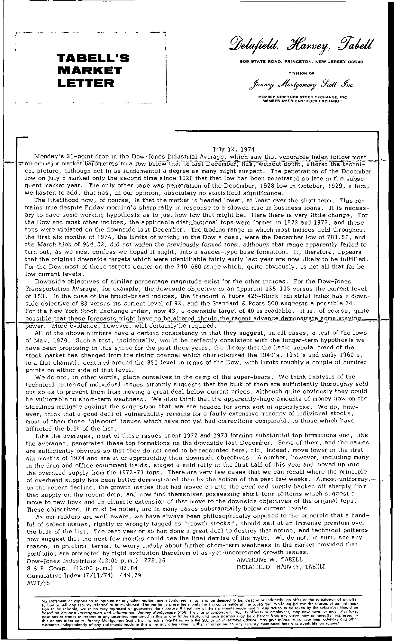 Tabell's Market Letter - July 12, 1974