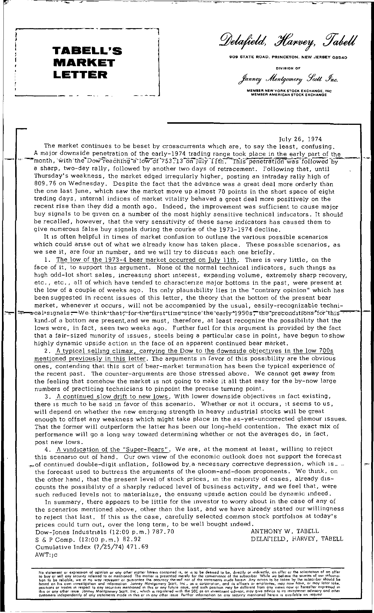 Tabell's Market Letter - July 26, 1974