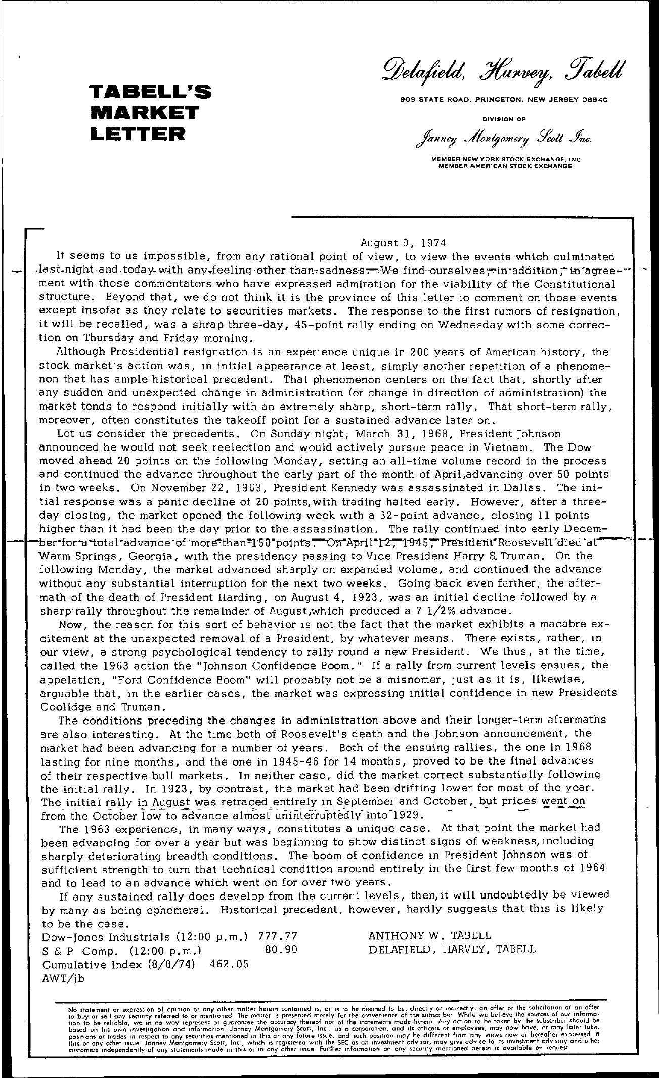 Tabell's Market Letter - August 09, 1974