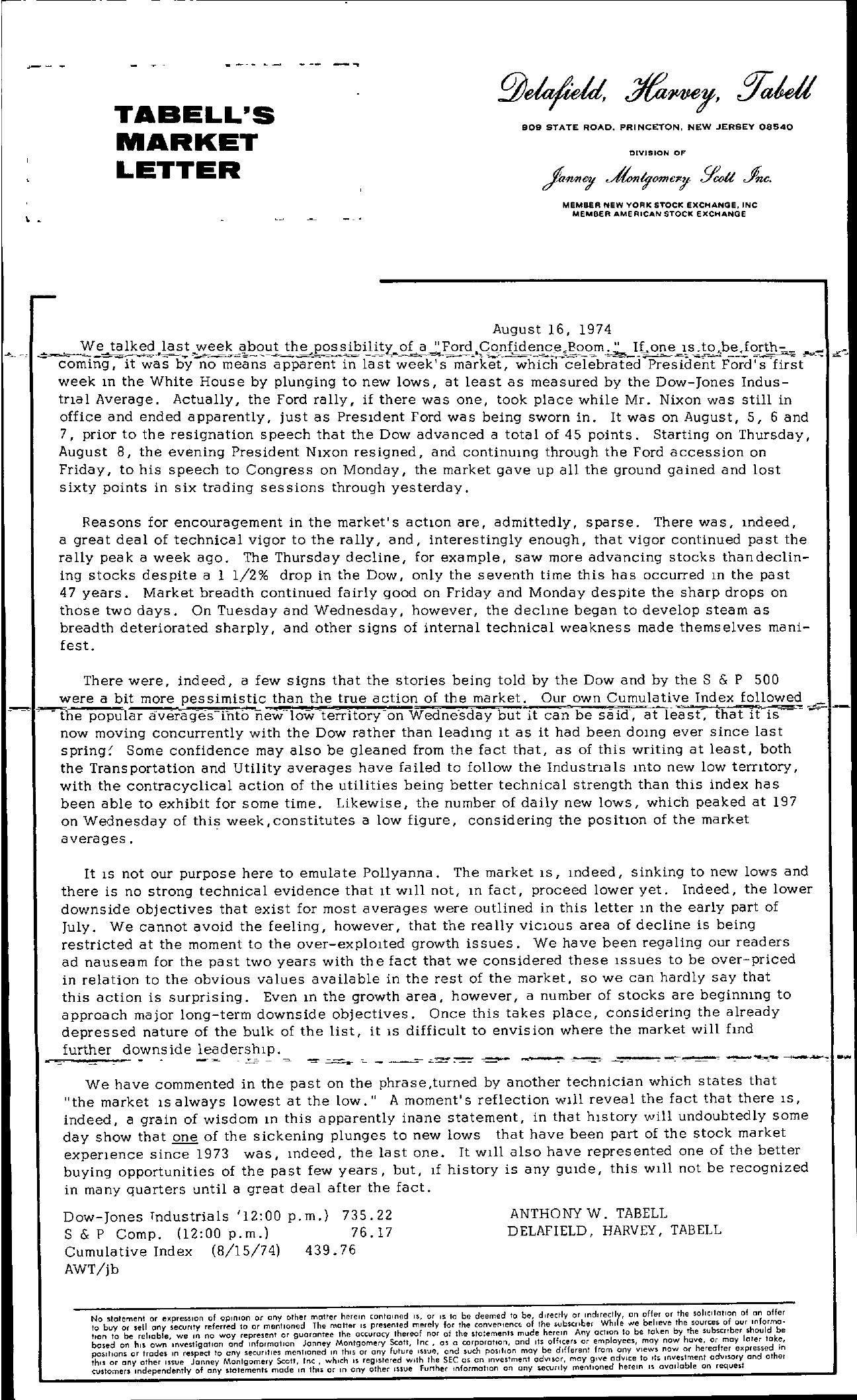 Tabell's Market Letter - August 16, 1974